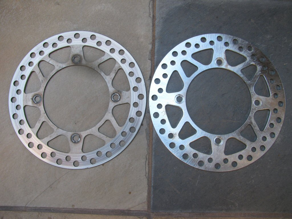 Side by side comparison of front brake discs.