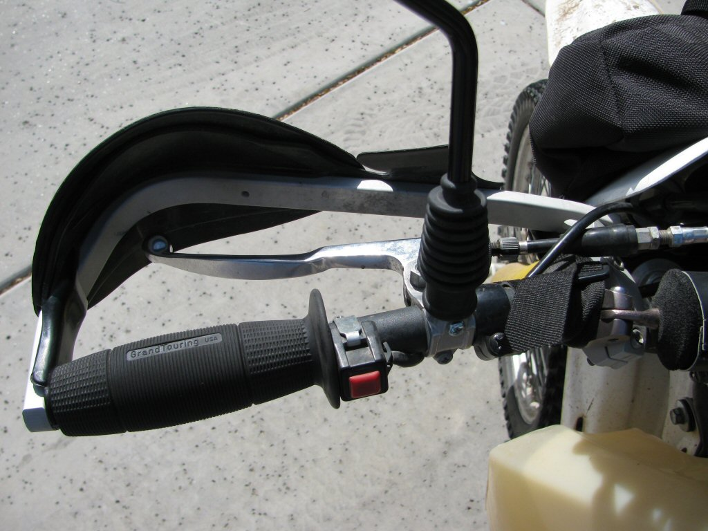 Tusk D-Flex hand guards mounted on a 1993 Suzuki DR350.