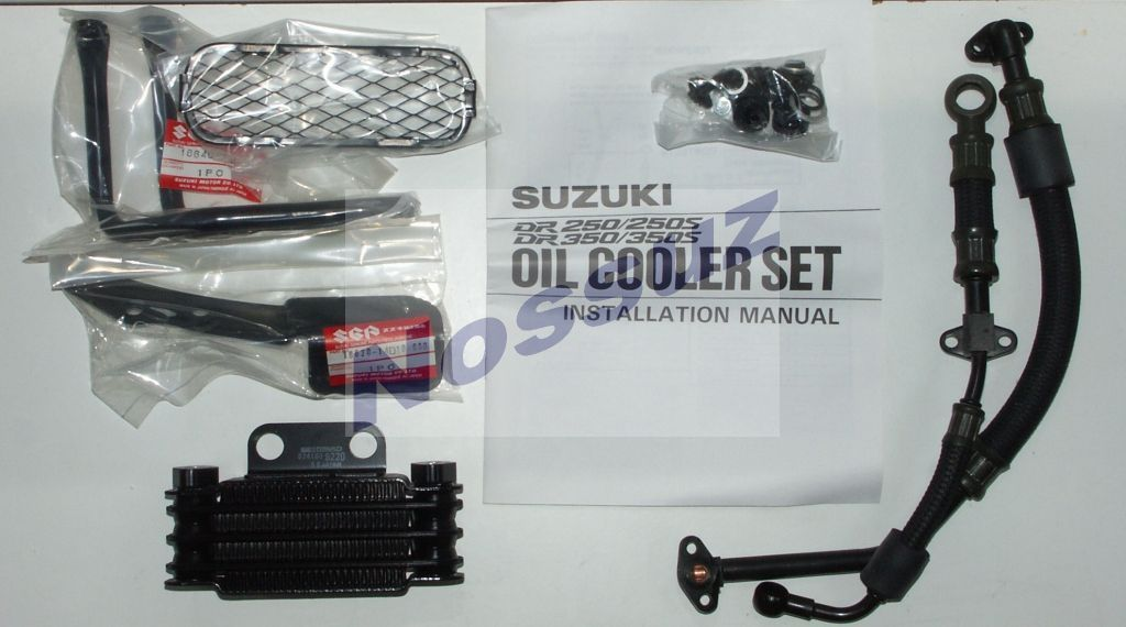 Original oil cooler parts for a Suzuki DR350.