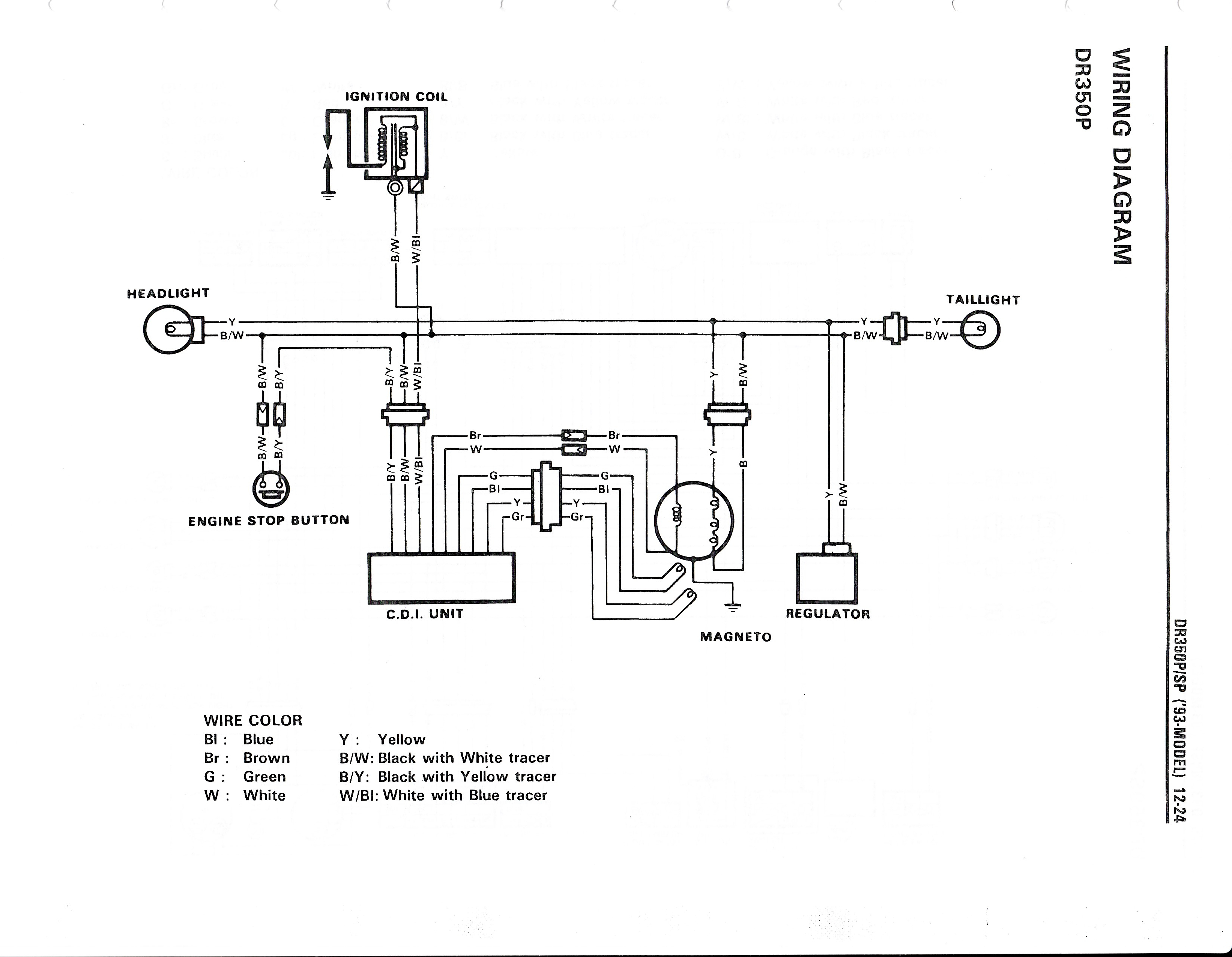 Wiring diagram for the DR350 (1993 and later models)