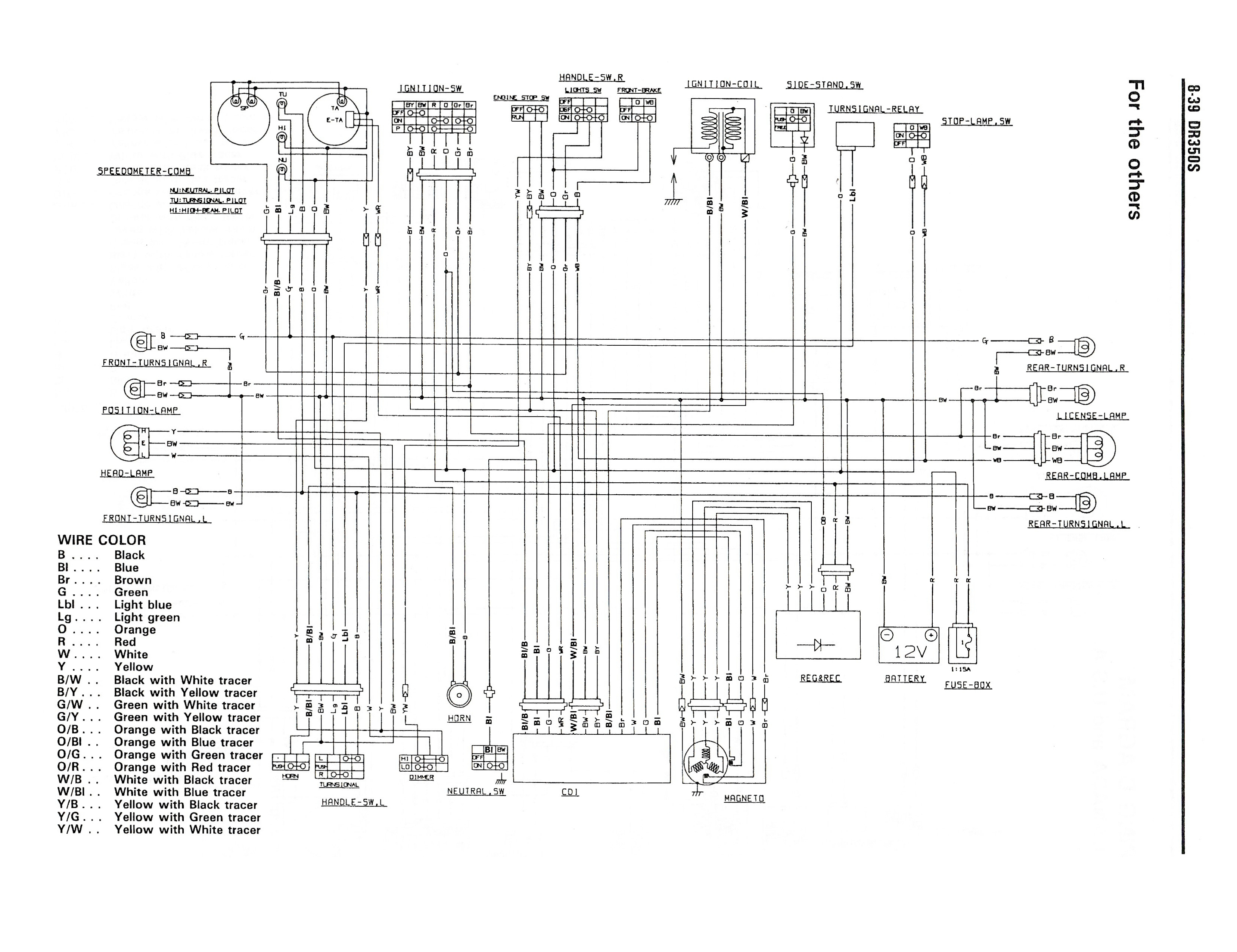 Wiring diagram for the DR350 S (1990 and later models - Other countries)