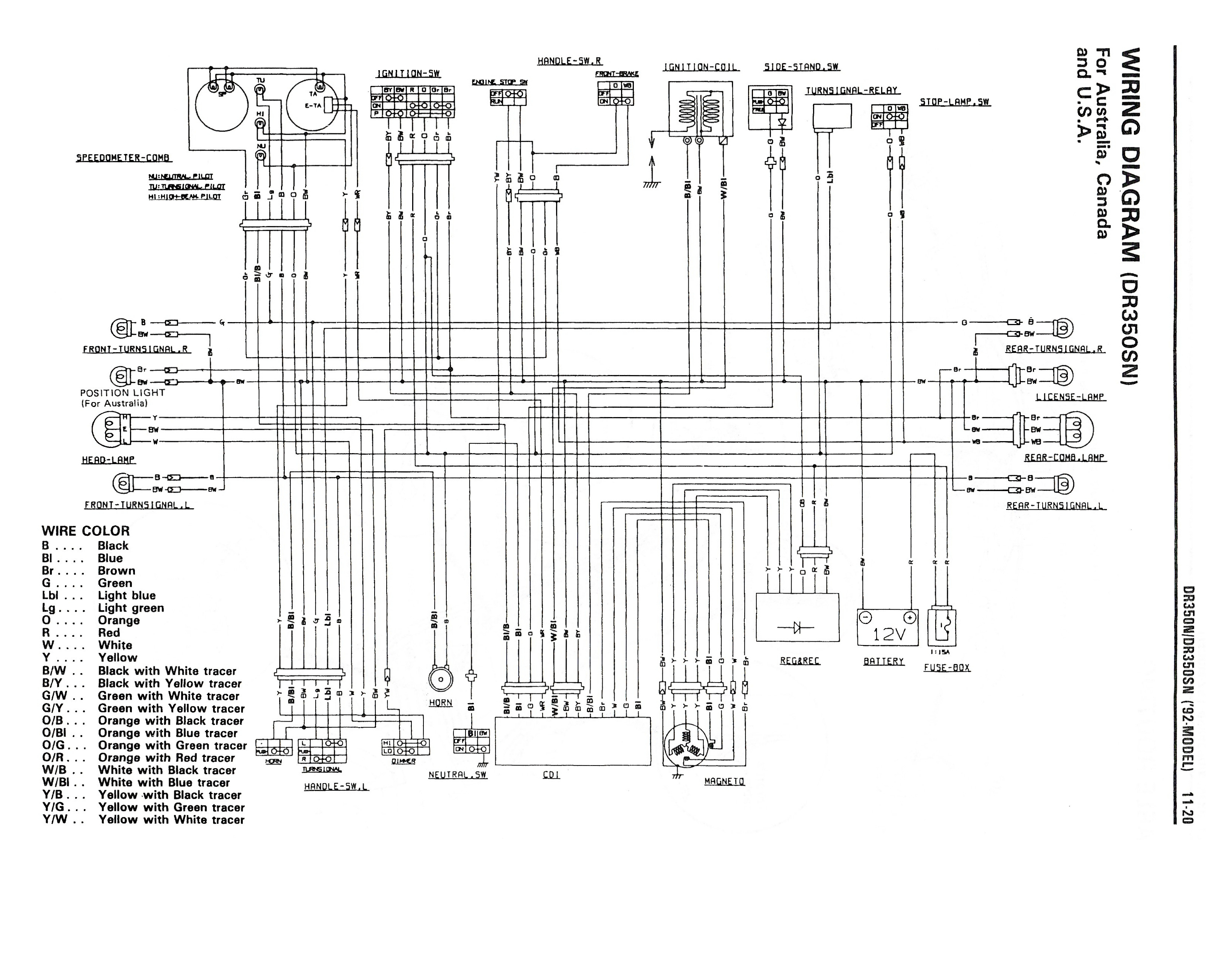 Wiring diagram for the DR350 S (1992 and later models - Australia, Canada, USA)