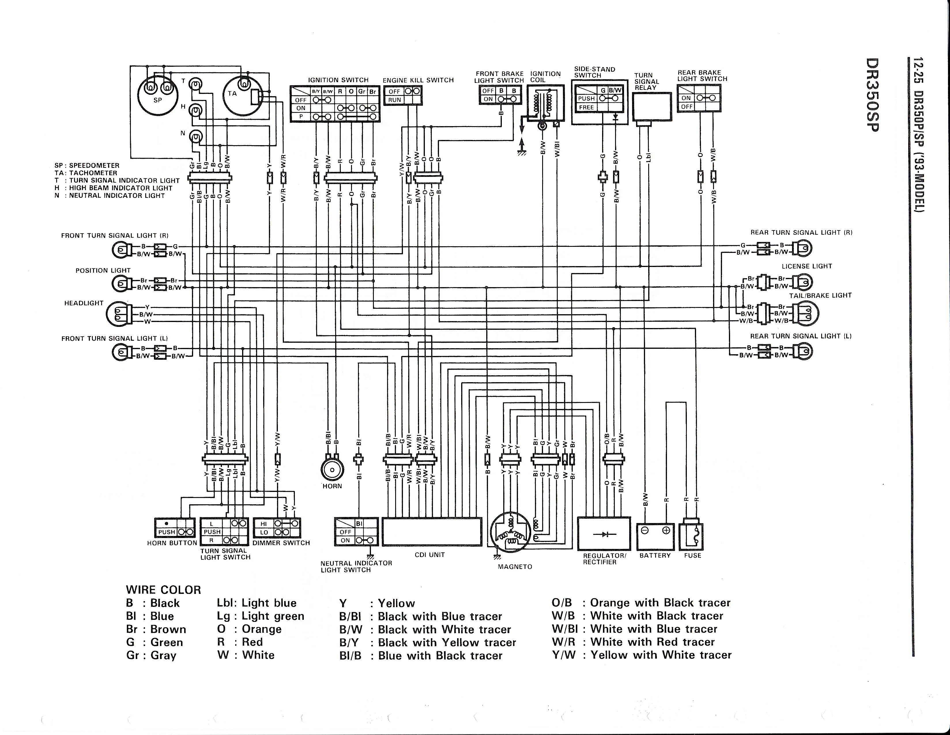 Wiring diagram for the DR350 S (1993 and later models)