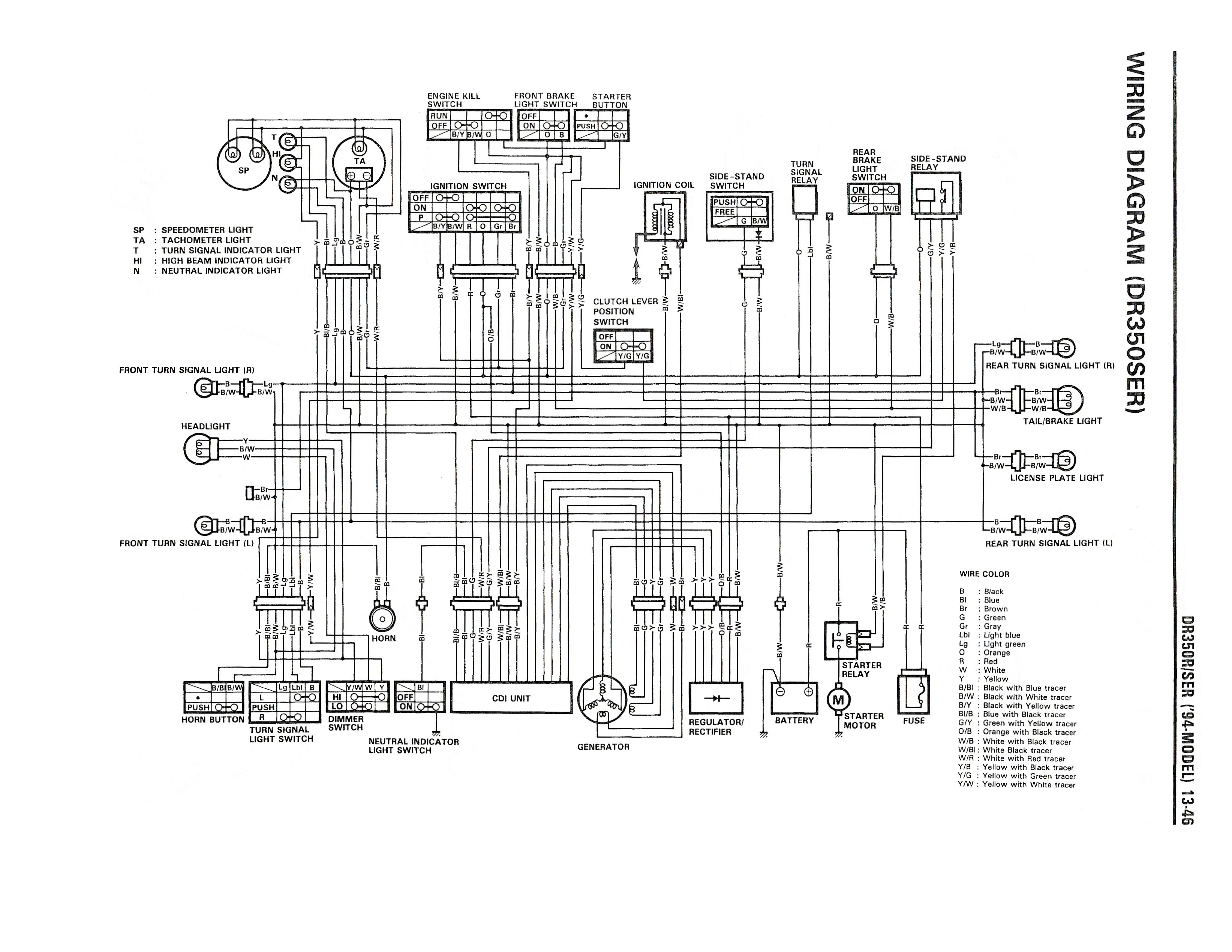 wiring diagram for the dr350 se (1994 and later models) suzuki on Raptor 350 Wiring Diagram for wiring diagram for the dr350 se (1994 and later models) at suzuki dr350 wiring diagram