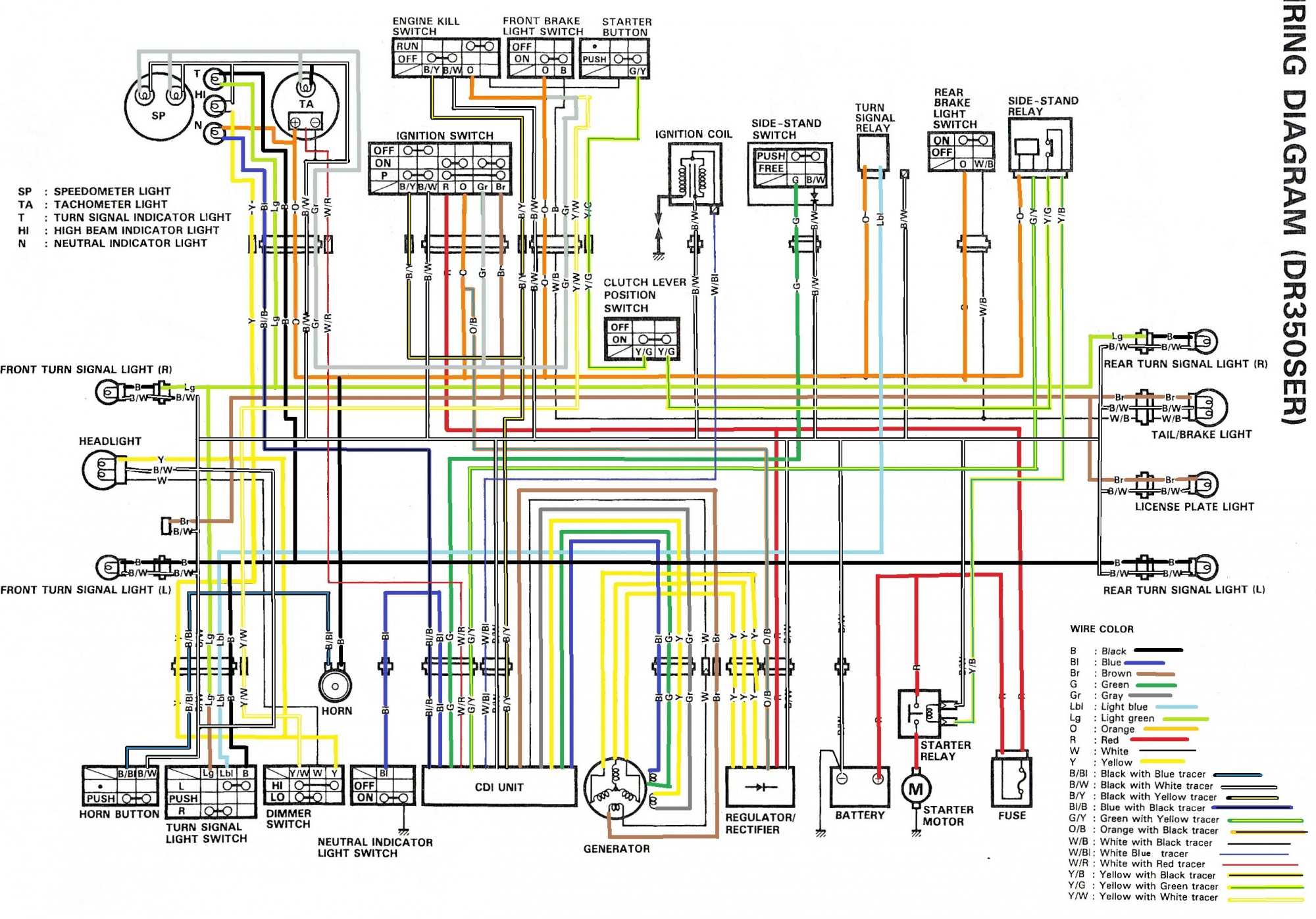 wiring diagram for the dr350 se (1994 and later models) color ladder diagram color wiring diagram for the dr350 se (1994 and later models)