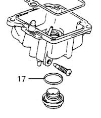 O-ring to seal the carburetor drain plug to the carburetor (SPN# 09280-12012).