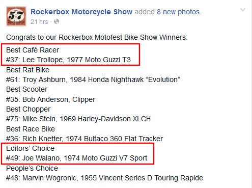 Lee Trollope and Joe Walano both won with Moto Guzzis!