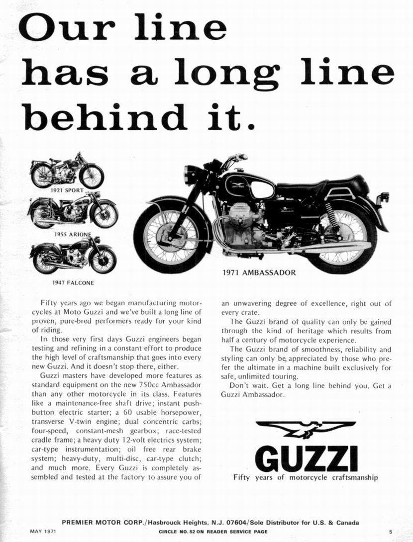 Moto Guzzi advertisement: Our line has a long line behind it. (1971 May).