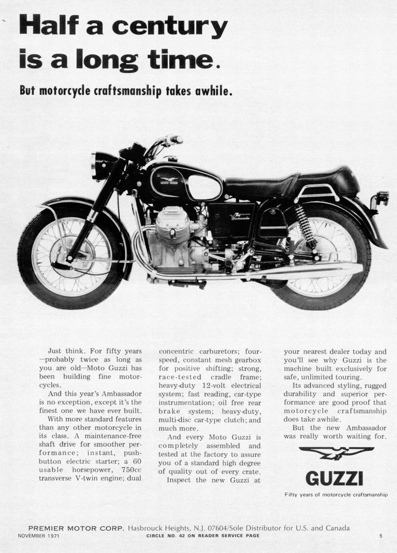 Moto Guzzi advertisement: Half a century is a long time. (1971 November)