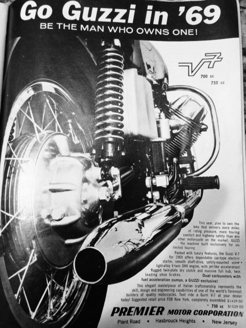 Moto Guzzi advertisement: Go Guzzi in '69