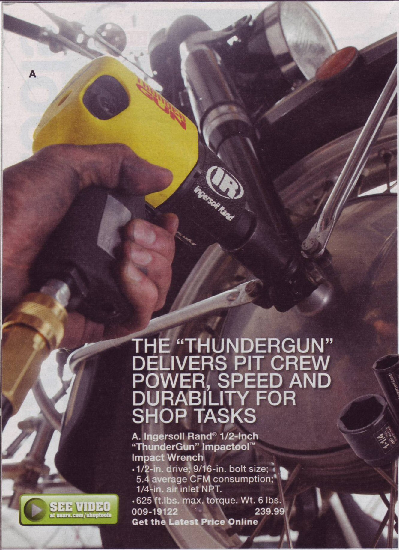 Moto Guzzi advertisement: Sears Cool Blue for Tools catalog for an Ingersoll Rand Thundergun. Catalog is dated 2011 - 2012 on the cover, but it arrived in my mailbox on 2011 February 28.