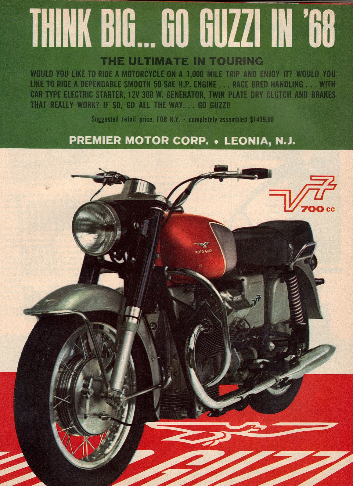 Moto Guzzi advertisement: Think Big...Go Guzzi in '68.