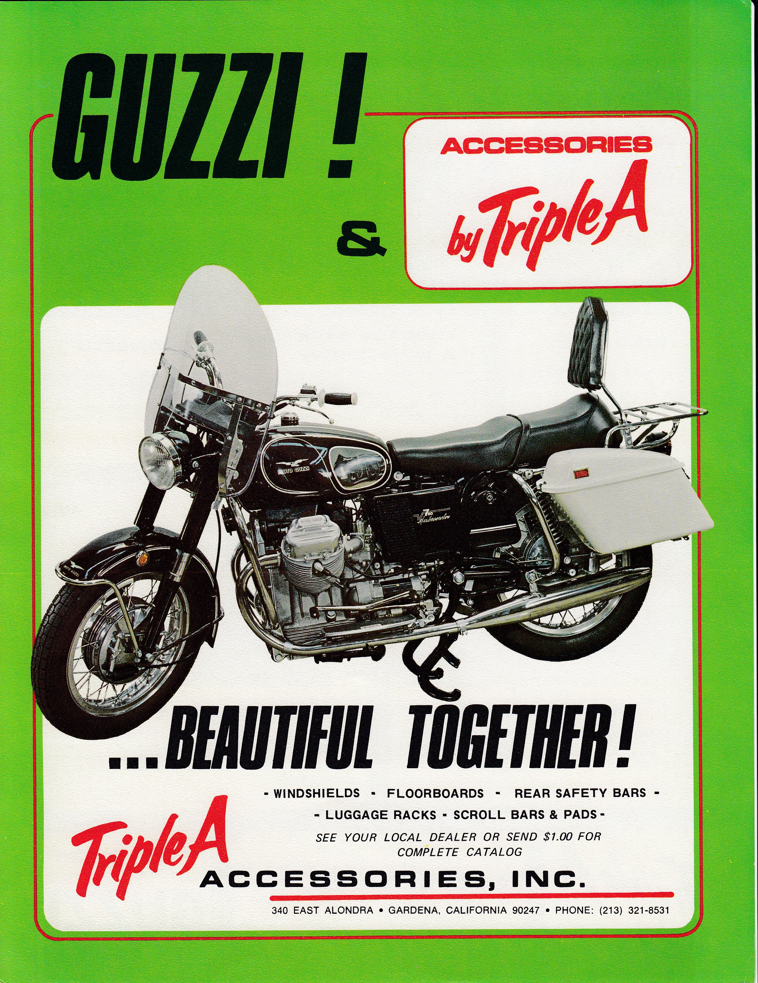 Moto Guzzi advertisement: Triple A accessories for Moto Guzzi motorcycles.
