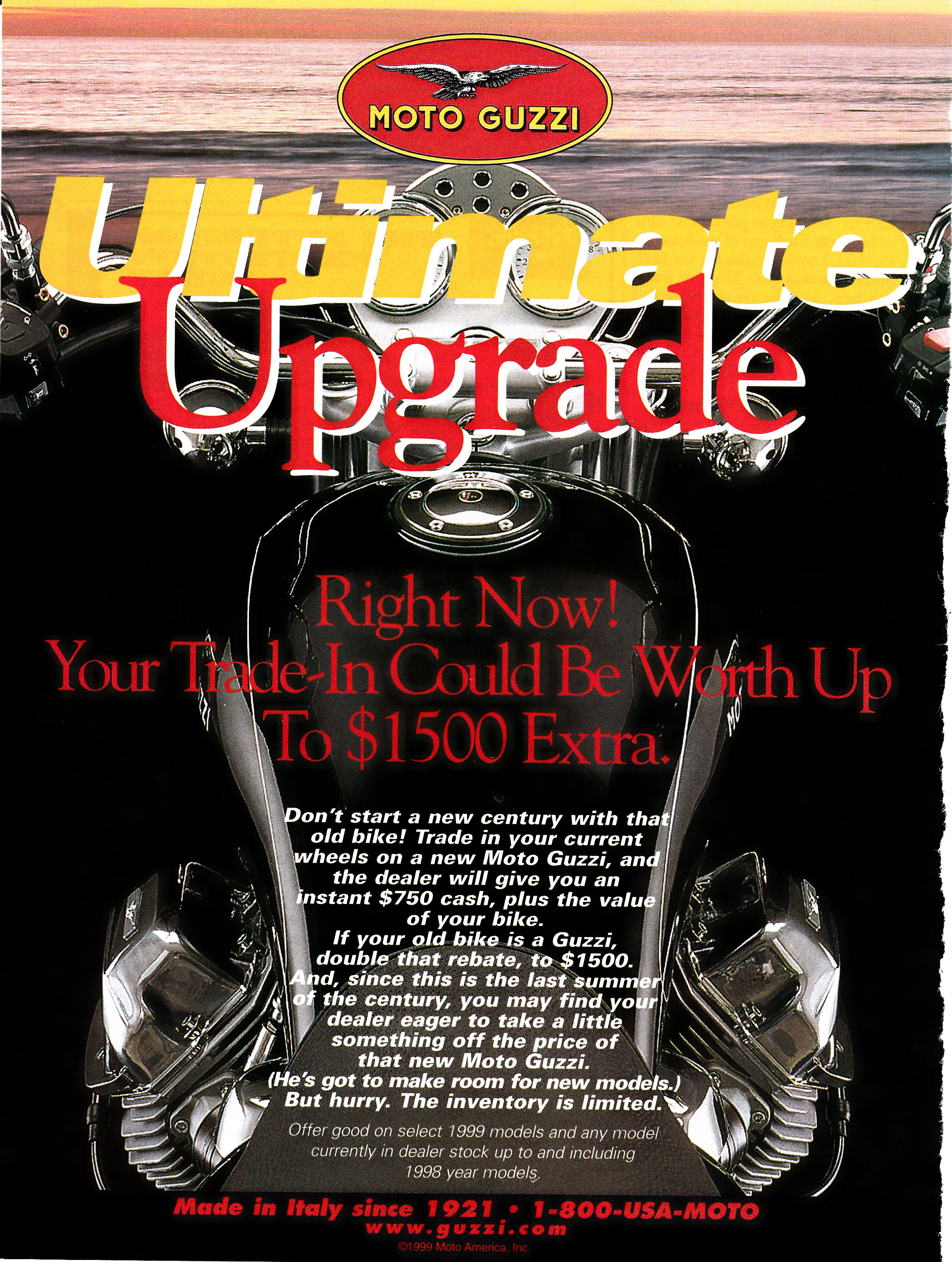 Moto Guzzi advertisement: Ultimate upgrade
