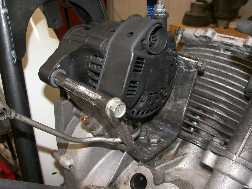 Kevin Hahn's (of Scrambler Cycle) alternator conversion. Applicable to Moto Guzzi V700, V7 Special, Ambassador, 850 GT, 850 GT California, Eldorado, and 850 California Police motorcycles.