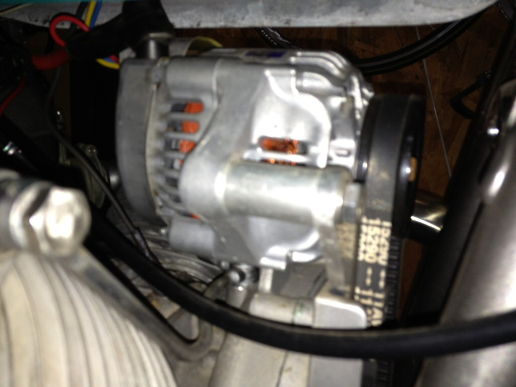 Kurt Thomas' alternator conversion. Applicable to Moto Guzzi V700, V7 Special, Ambassador, 850 GT, 850 GT California, Eldorado, and 850 California Police motorcycles.