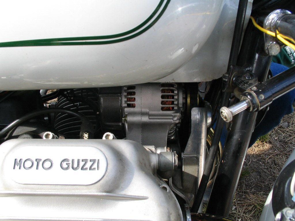 Neil Hemenway's alternator conversion. Applicable to Moto Guzzi V700, V7 Special, Ambassador, 850 GT, 850 GT California, Eldorado, and 850 California Police motorcycles.