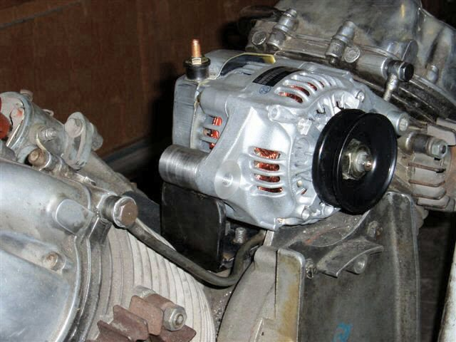 The alternator conversion kit as created by Bob Nolan and Greg Field. Applicable to Moto Guzzi V700, V7 Special, Ambassador, 850 GT, 850 GT California, Eldorado, and 850 California Police motorcycles.