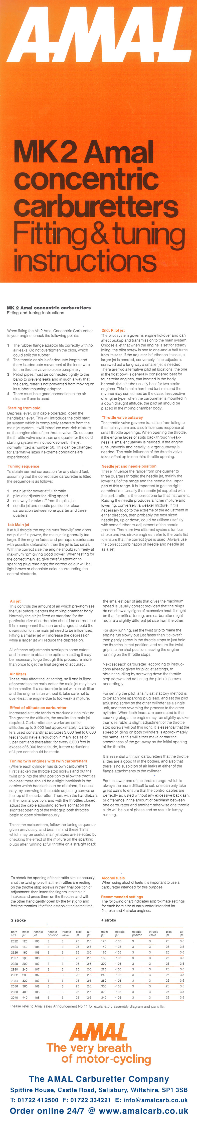MK2 amal concentric carburetors fitting and tuning instructions.
