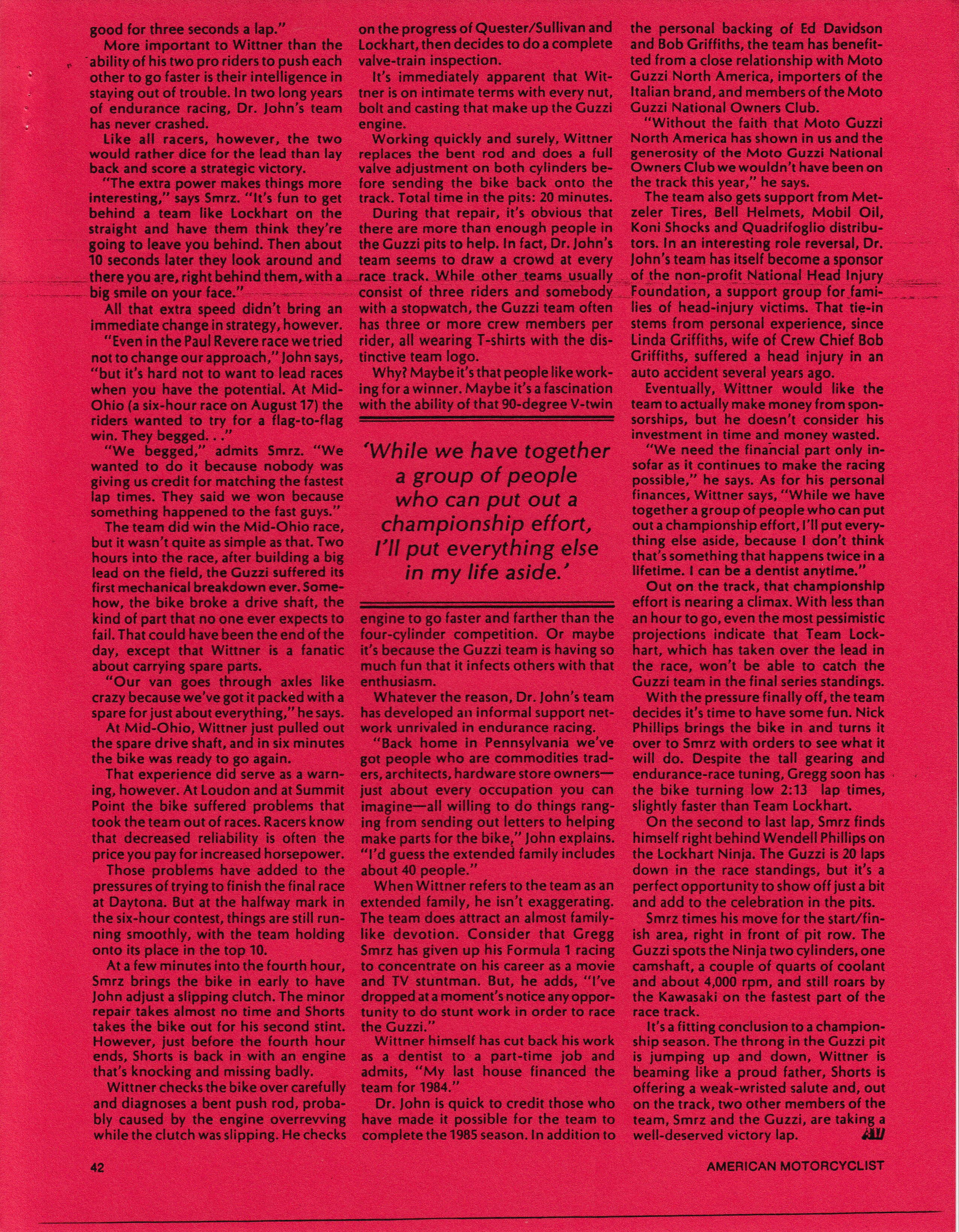 Article - American Motorcyclist (1986 January) Who are those guys? Dr. John's team rides a Guzzi to glory in endurance racing