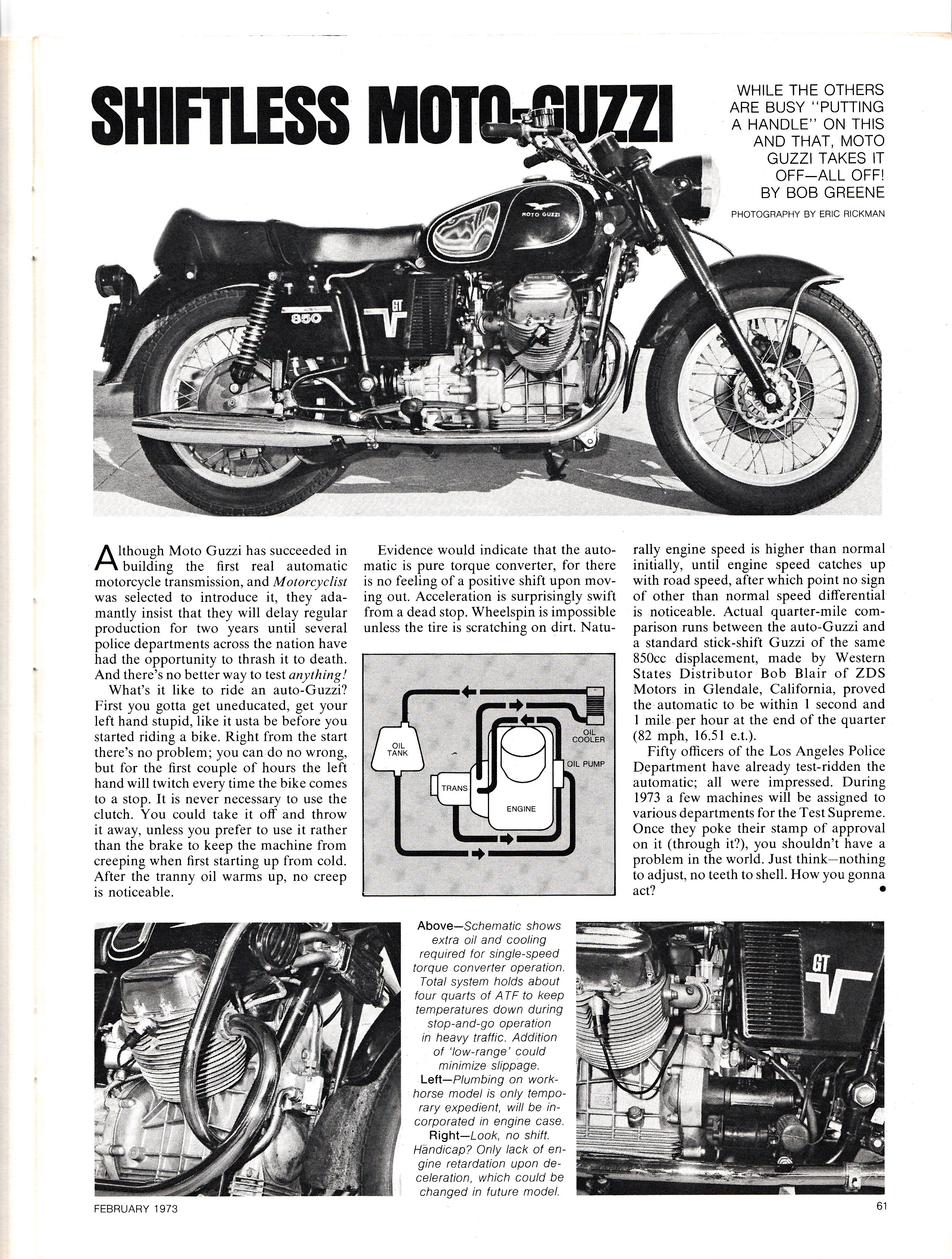 Article - Motorcyclist (1973 February) Shiftless Moto Guzzi. Early prototype of an I-Convert.