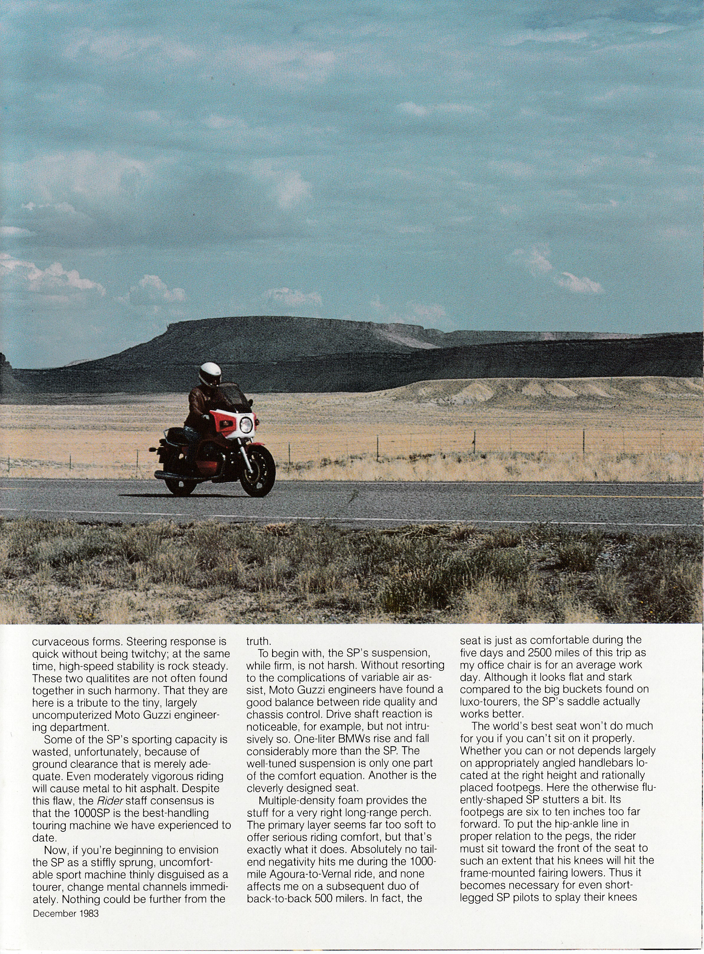 Article - Rider (1983 December) First test: Moto Guzzi 1000 SP bring on the curves