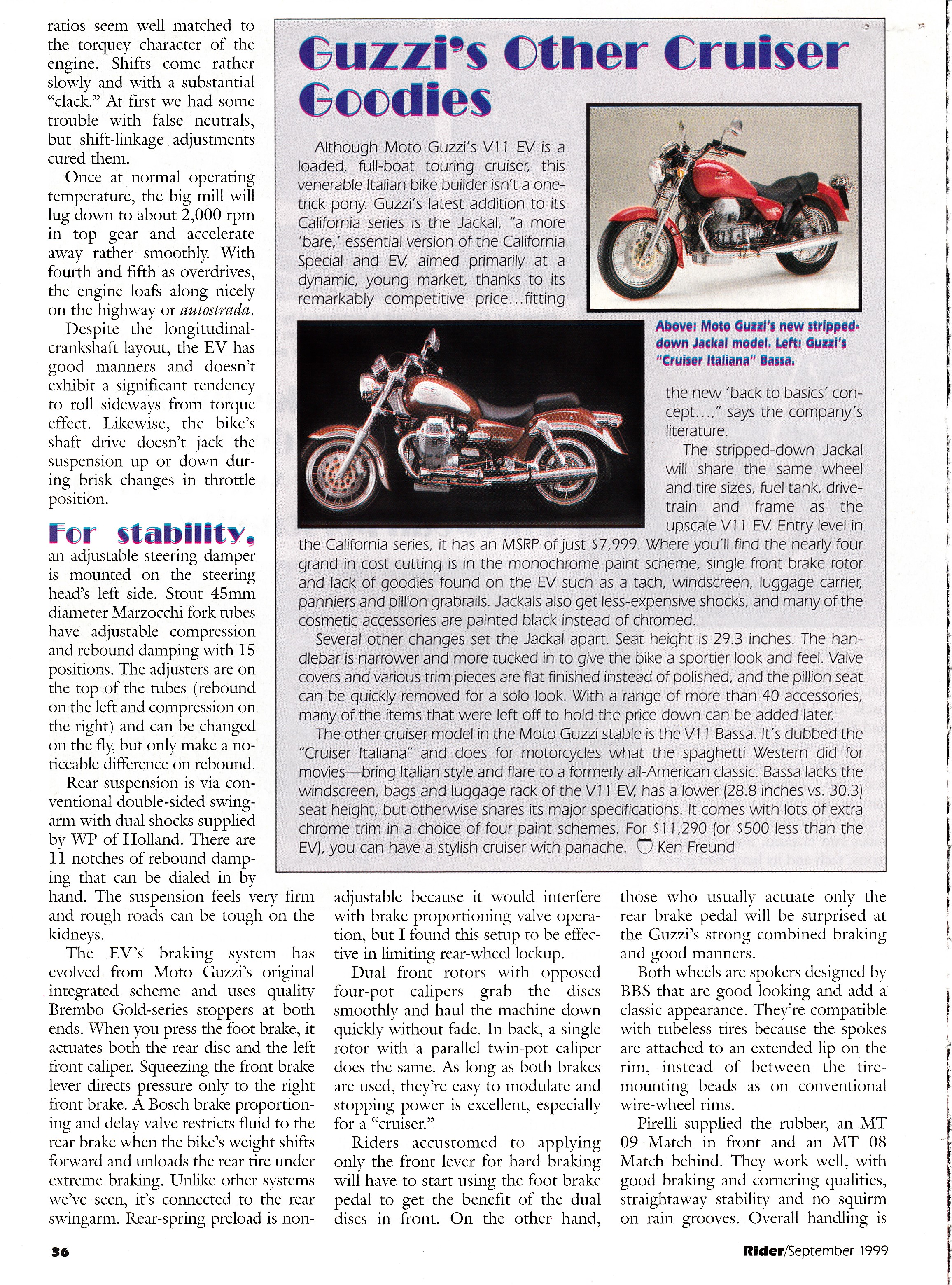 Article - Rider (1999 September) La bella macchina: The 1999 Moto Guzzi California V11 EV.