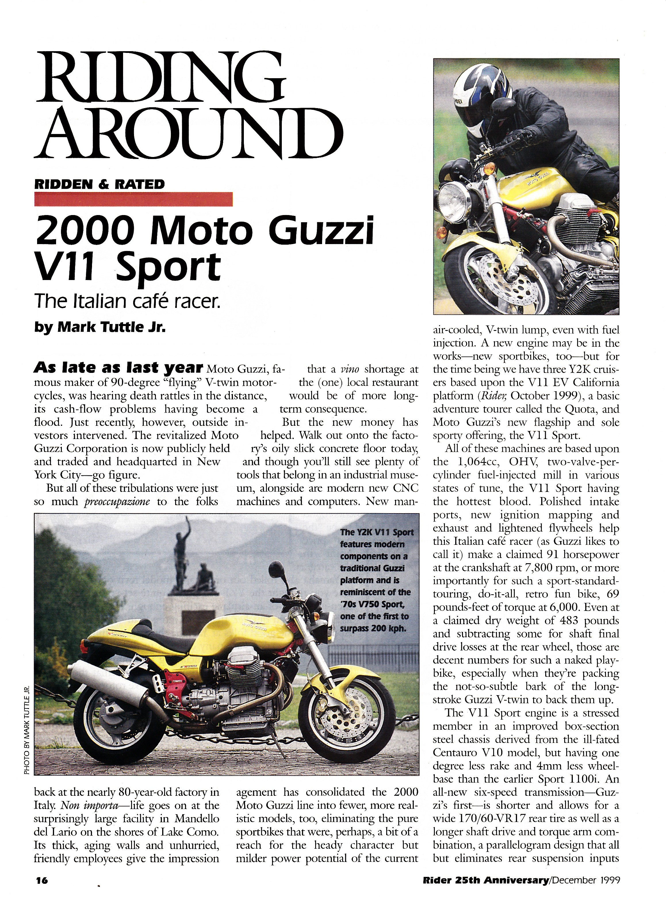 Article - Rider (1999 December) 2000 Moto Guzzi V11 Sport: The Italian café racer.