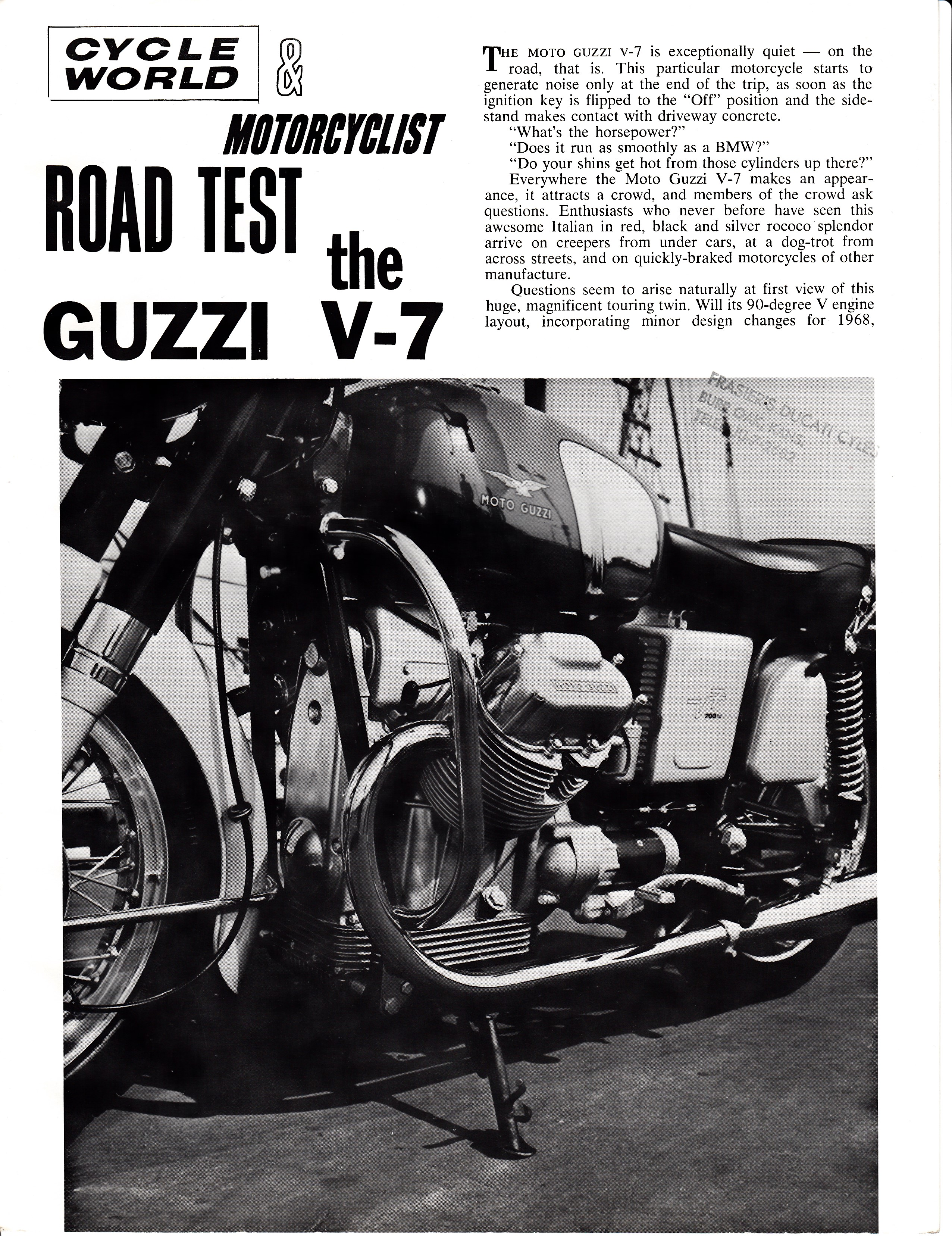 Moto Guzzi V700 factory brochure of magazine reviews, Page 1 of 8.