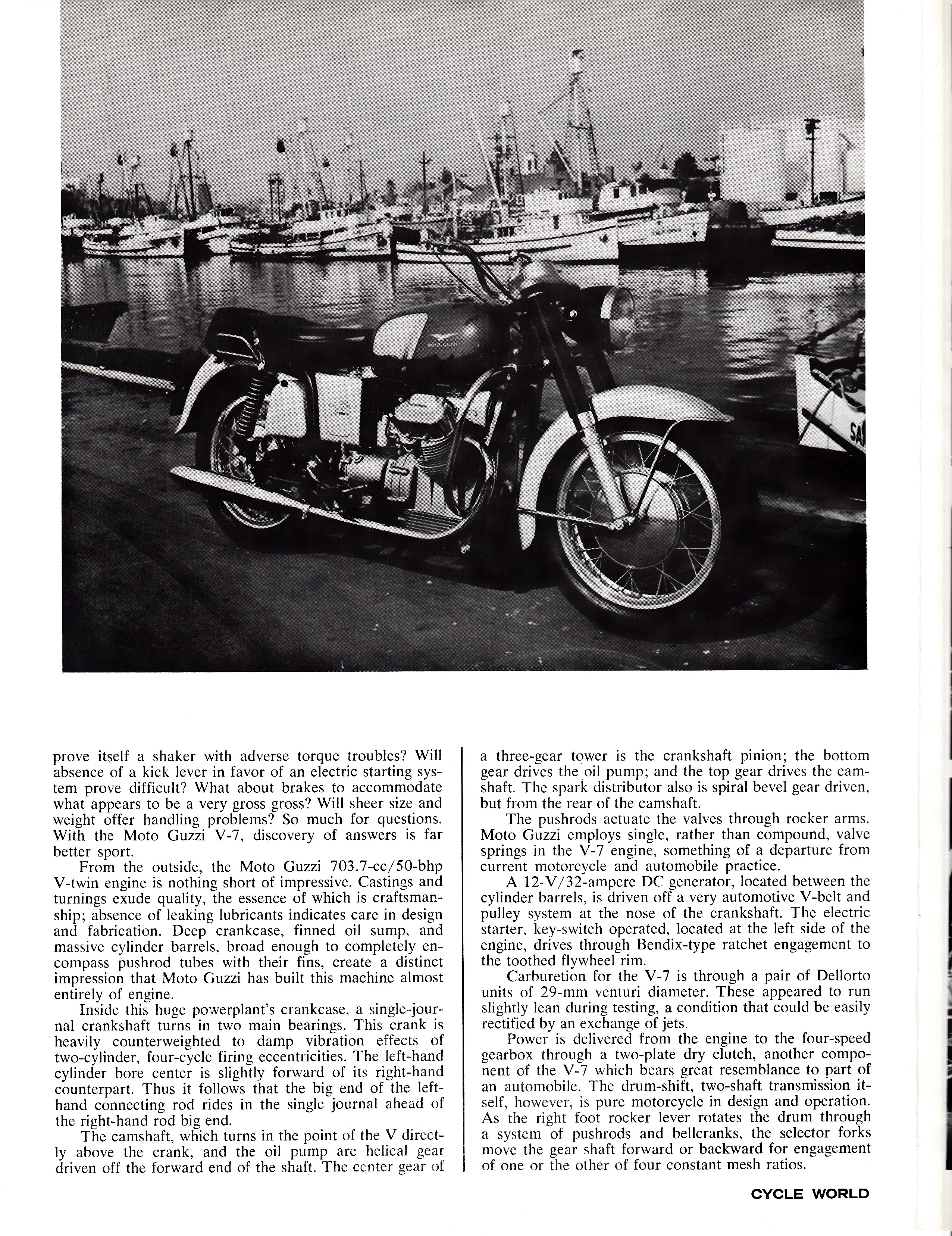 Moto Guzzi V700 factory brochure of magazine reviews, Page 2 of 8.
