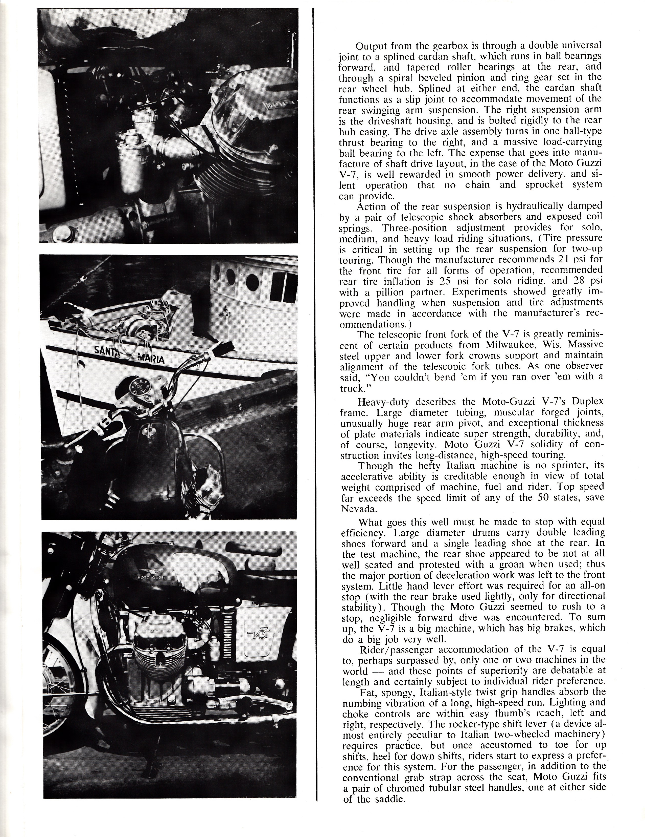 Moto Guzzi V700 factory brochure of magazine reviews, Page 3 of 8.