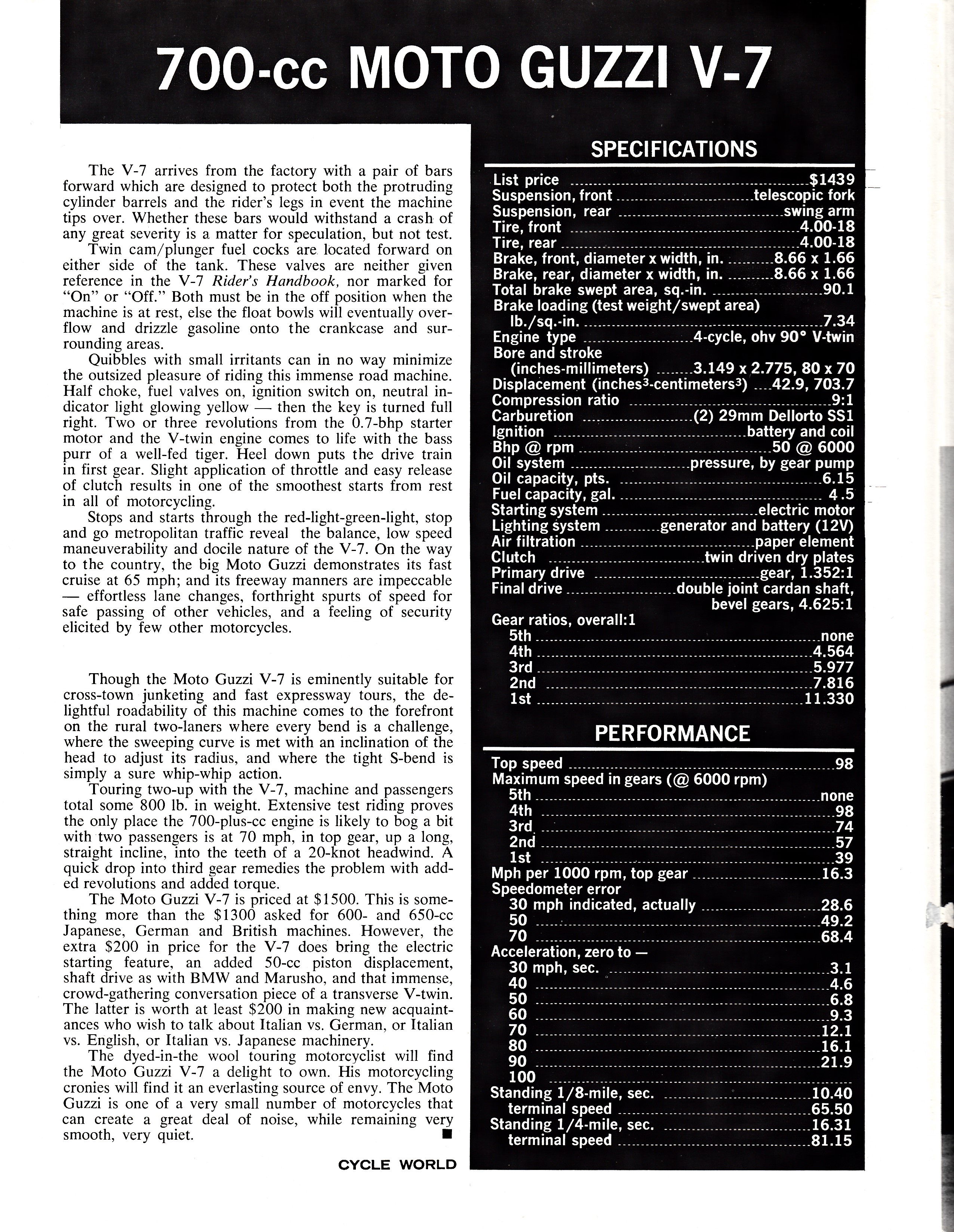 Moto Guzzi V700 factory brochure of magazine reviews, Page 4 of 8.