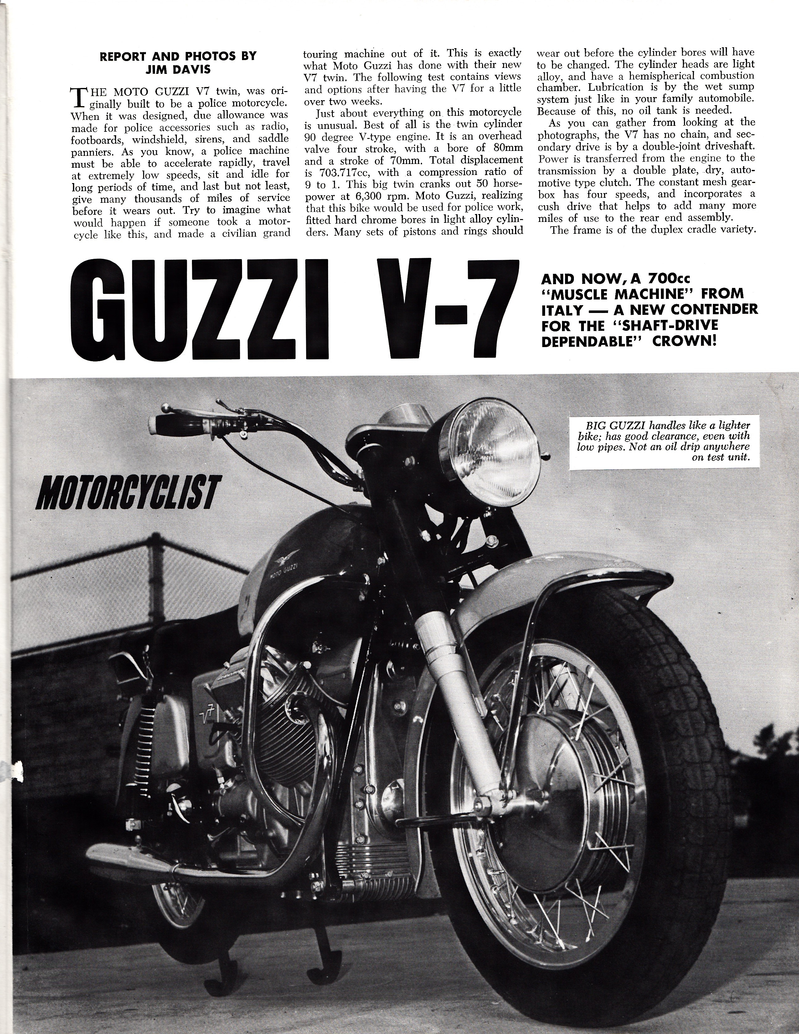 Moto Guzzi V700 factory brochure of magazine reviews, Page 5 of 8.