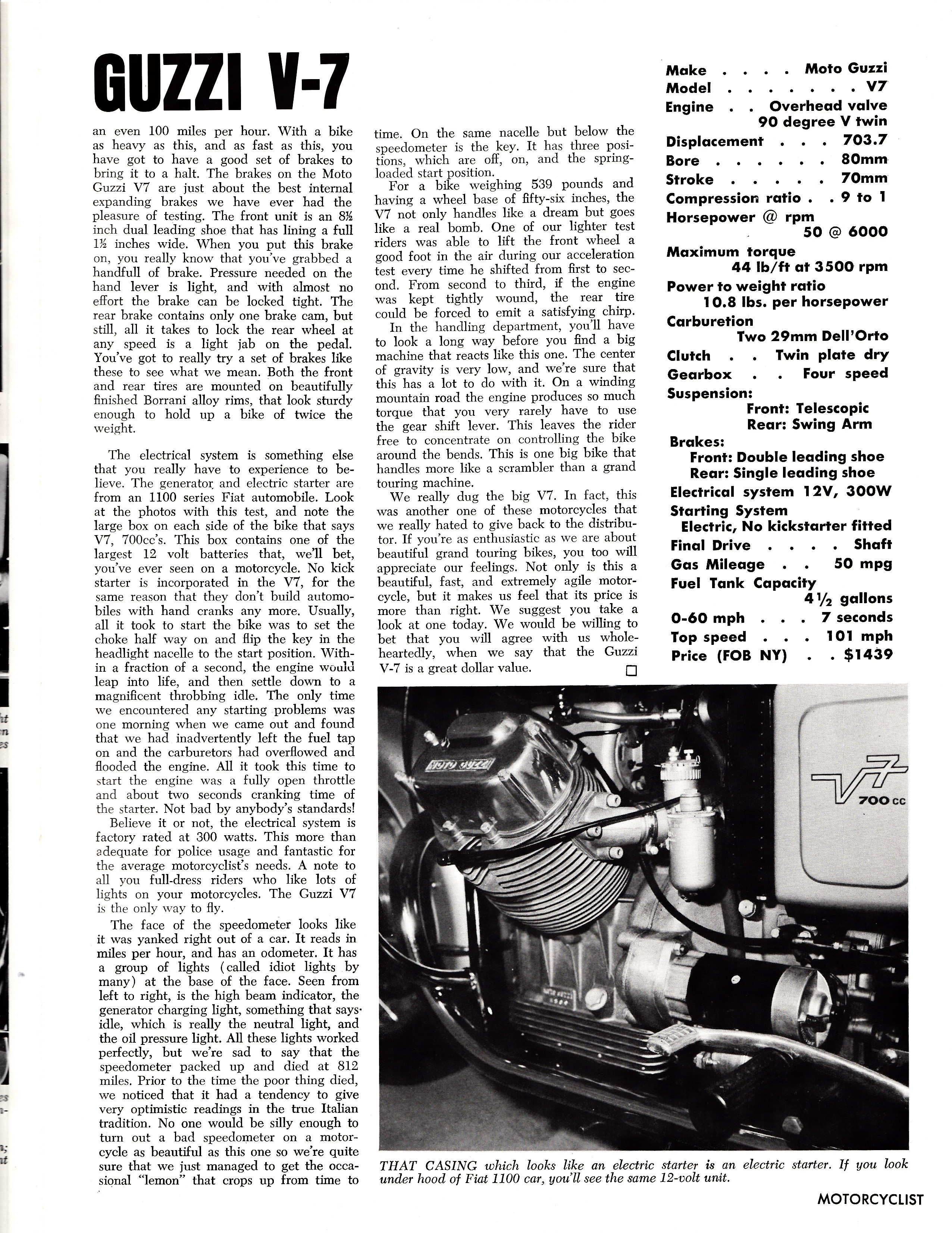 Moto Guzzi V700 factory brochure of magazine reviews, Page 7 of 8.