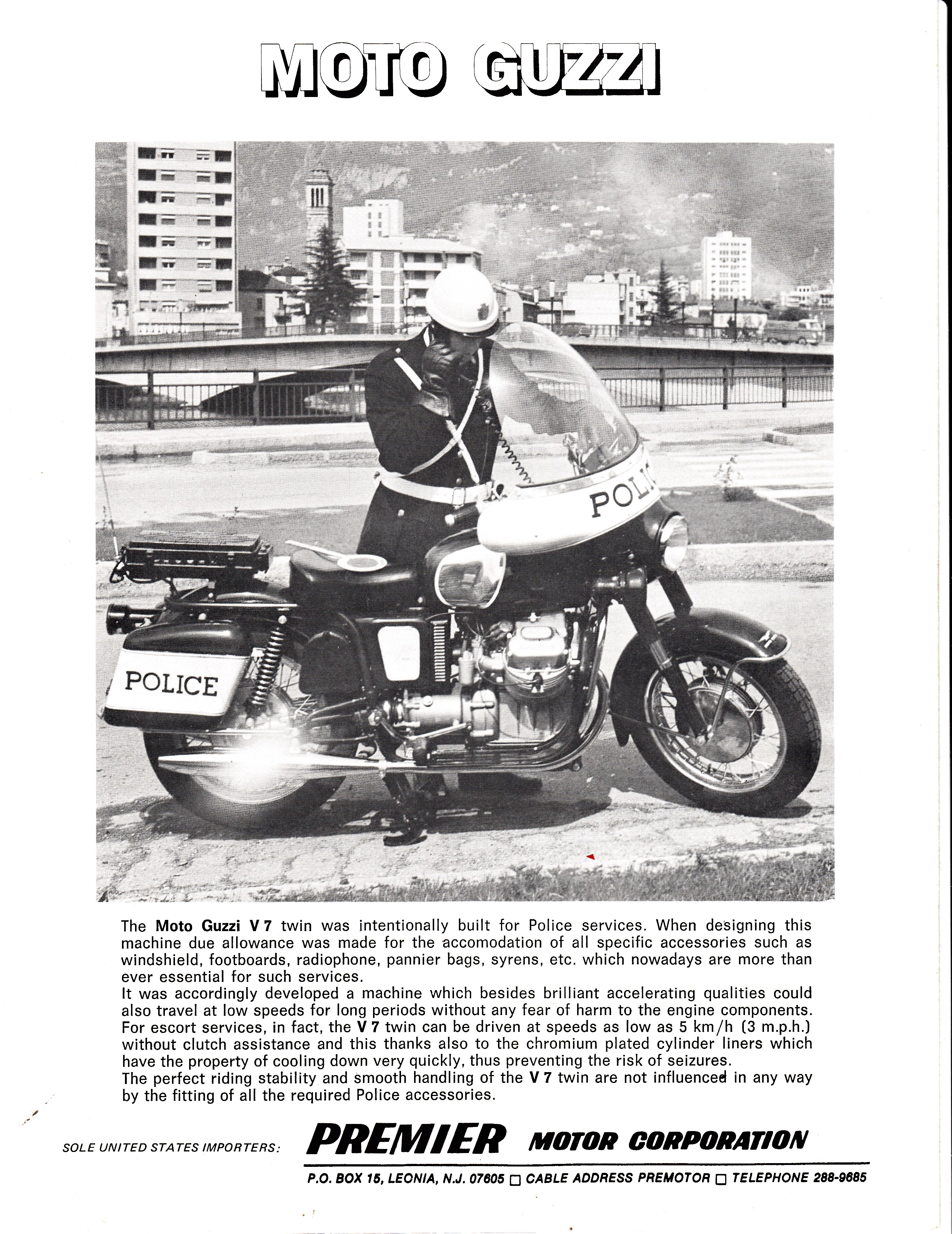 Moto Guzzi V700 factory brochure of magazine reviews, Page 8 of 8.