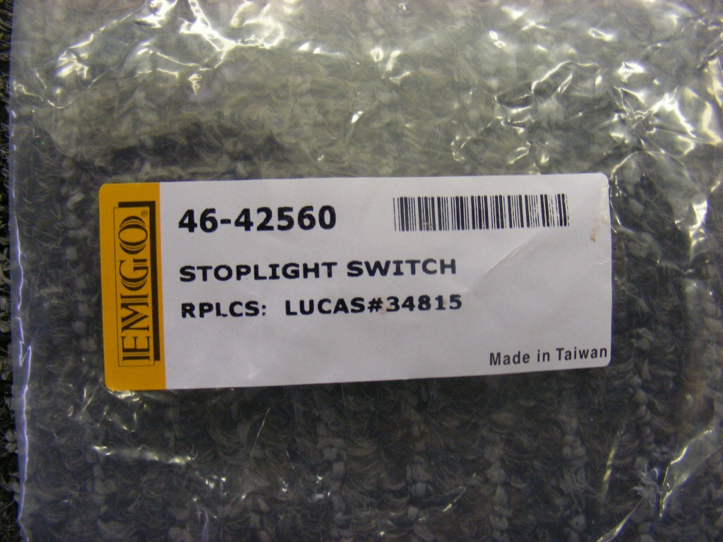 Replacement rear brake light switch. Emgo part number 46-42560.
