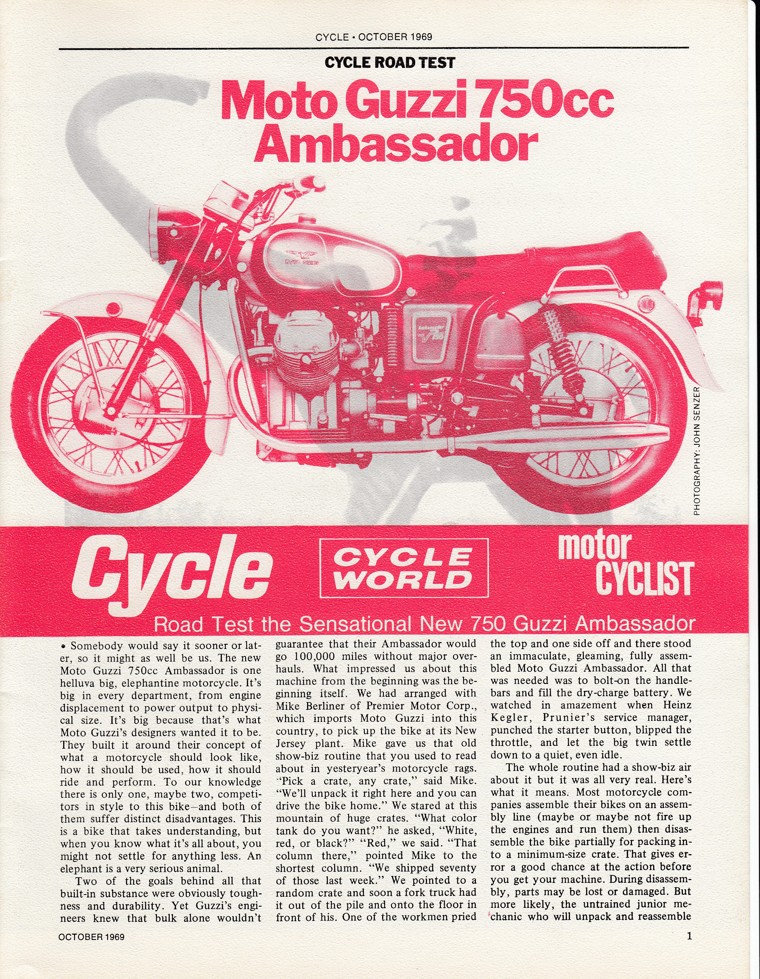 Moto Guzzi Ambassador factory brochure of magazine reviews, Page 1 of 16.