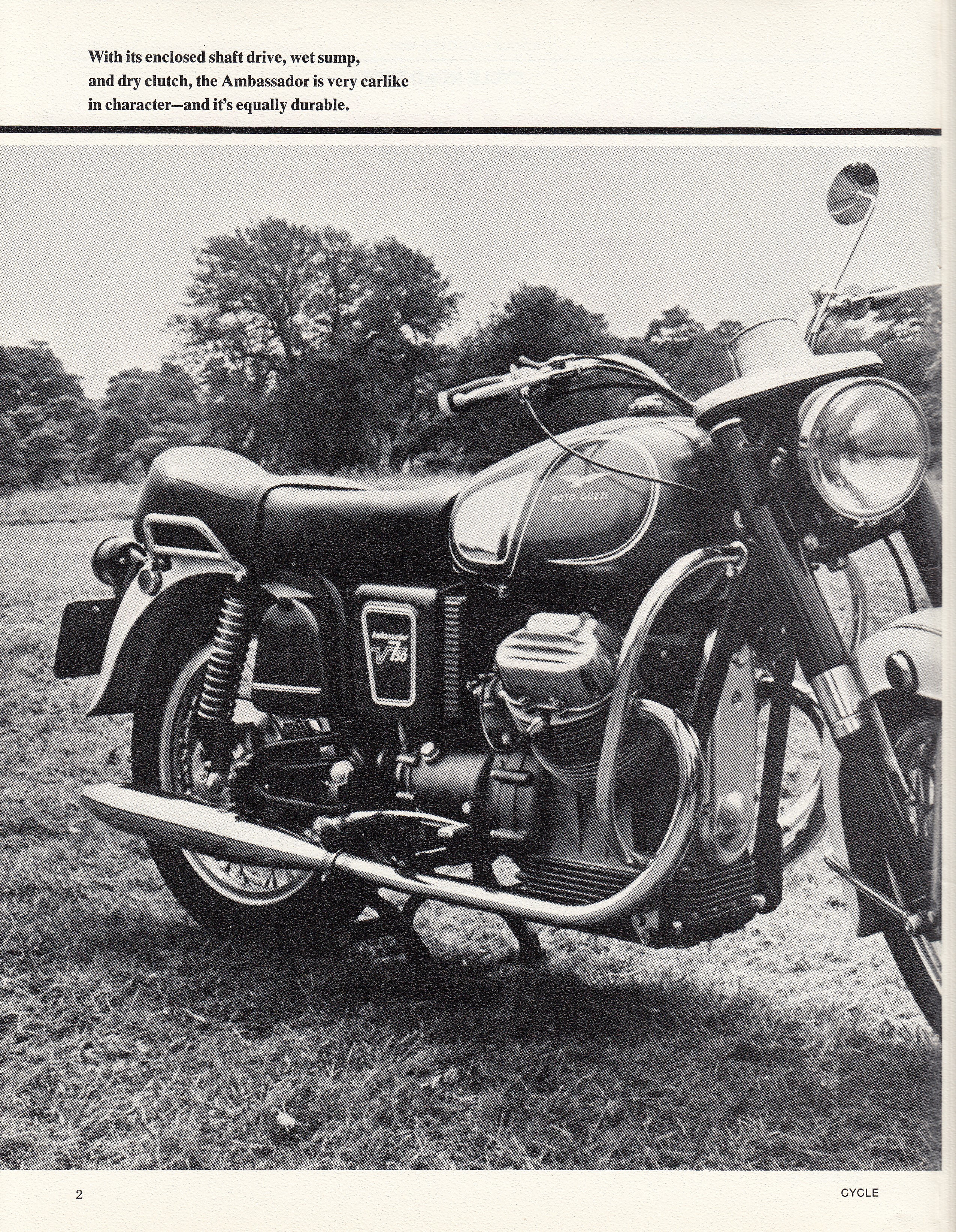 Moto Guzzi Ambassador factory brochure of magazine reviews, Page 2 of 16.