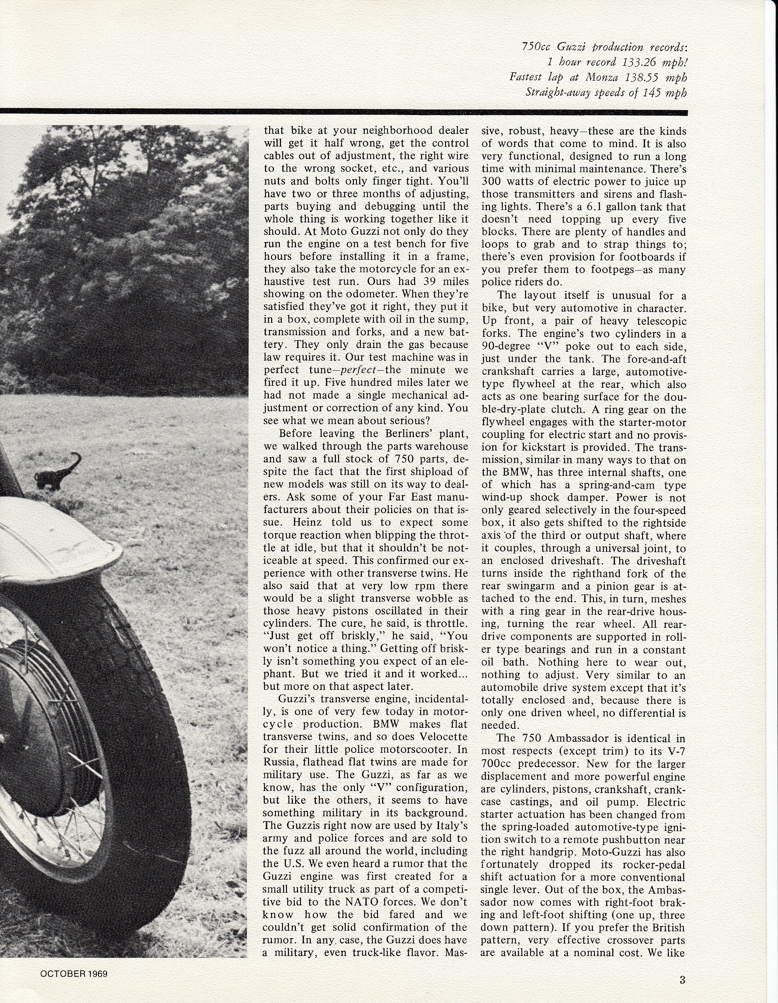 Moto Guzzi Ambassador factory brochure of magazine reviews, Page 3 of 16.
