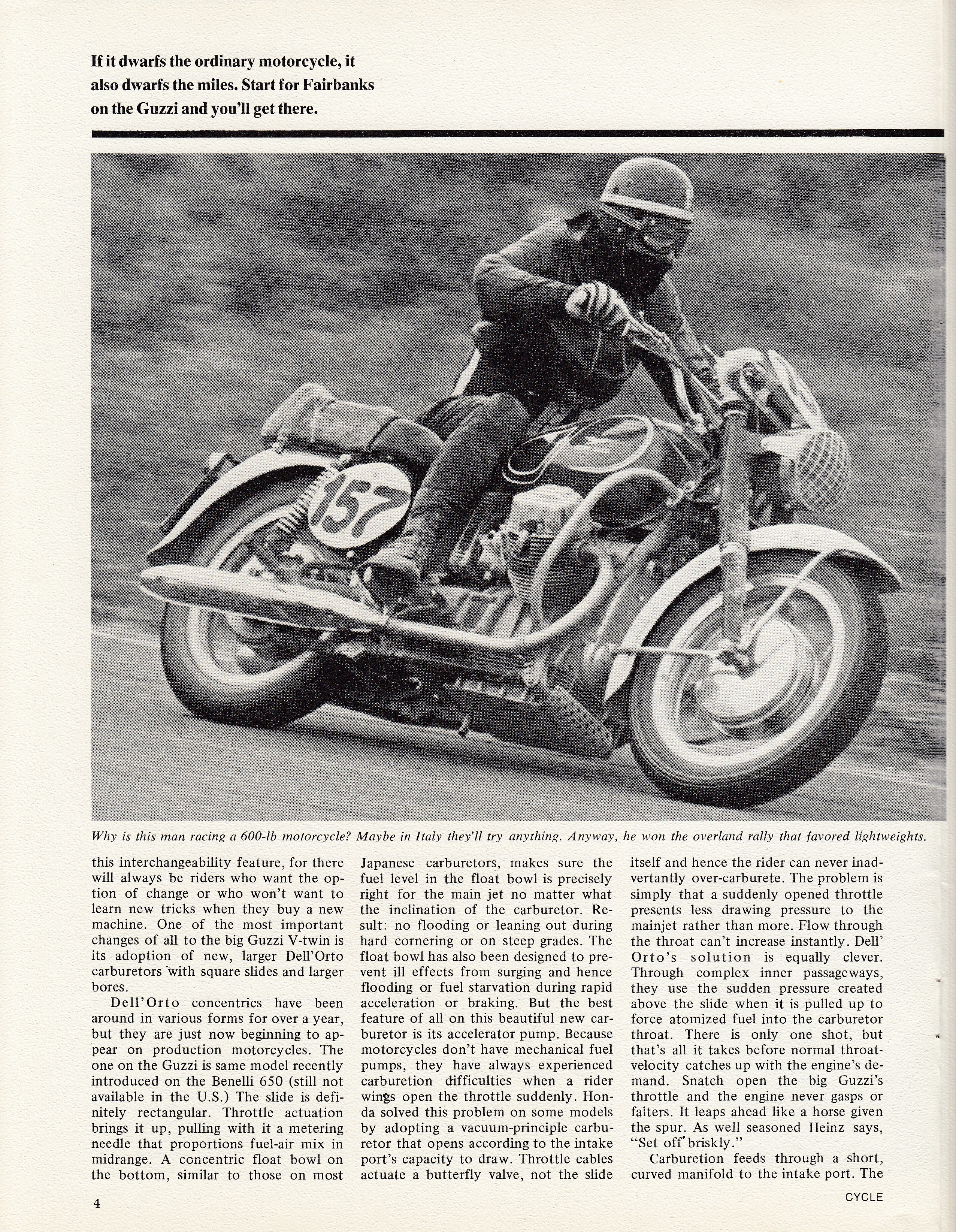 Moto Guzzi Ambassador factory brochure of magazine reviews, Page 4 of 16.