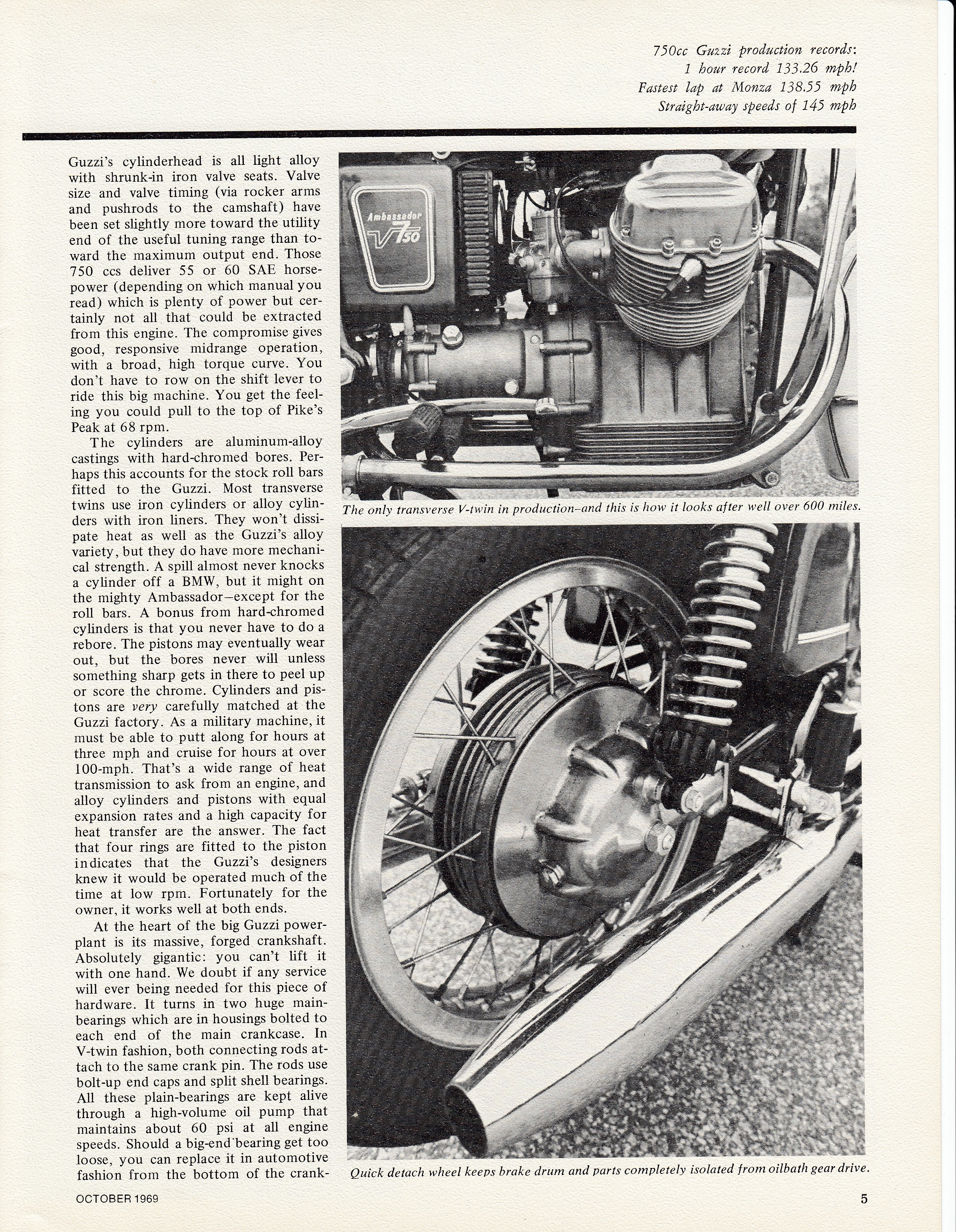 Moto Guzzi Ambassador factory brochure of magazine reviews, Page 5 of 16.
