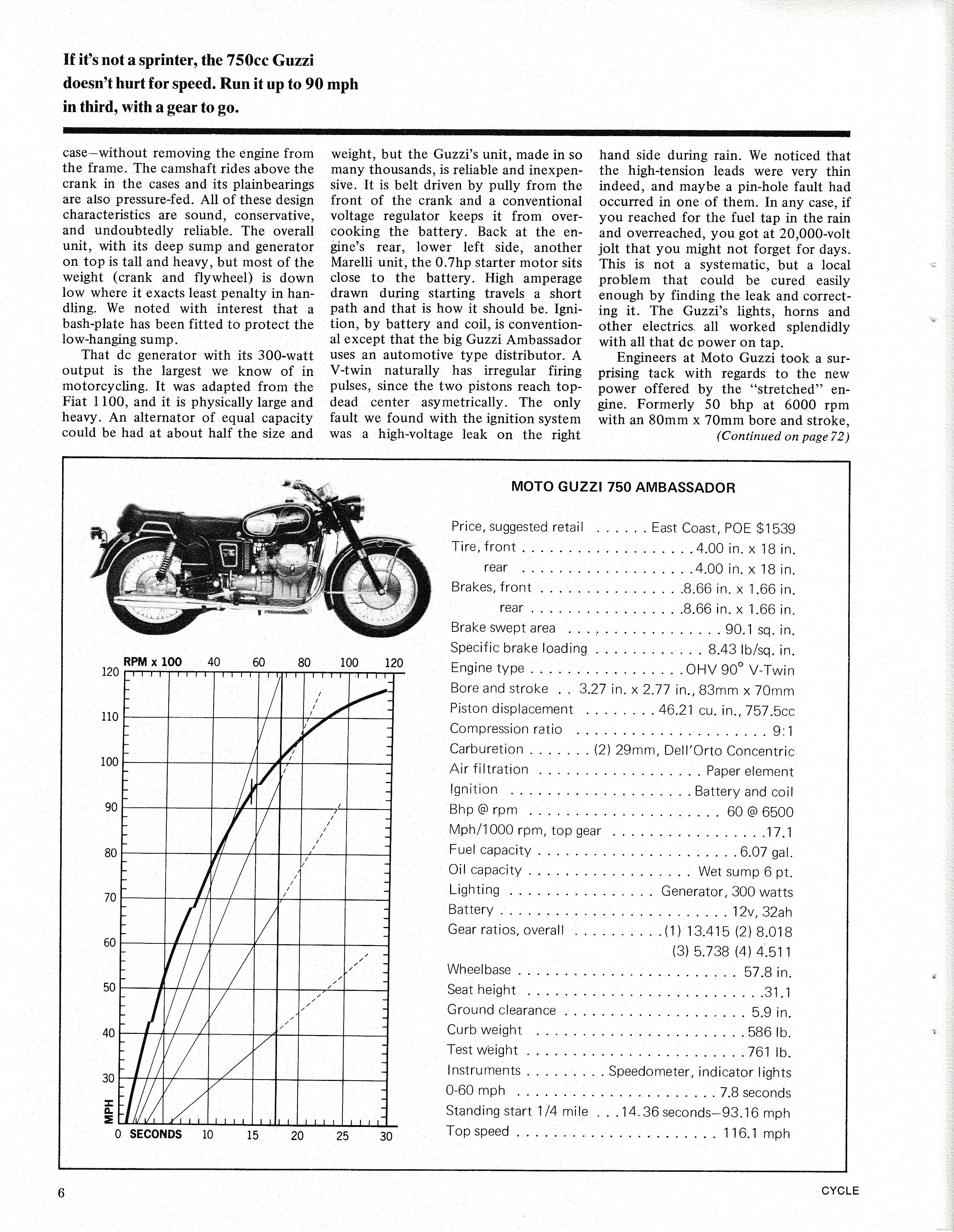 Moto Guzzi Ambassador factory brochure of magazine reviews, Page 6 of 16.
