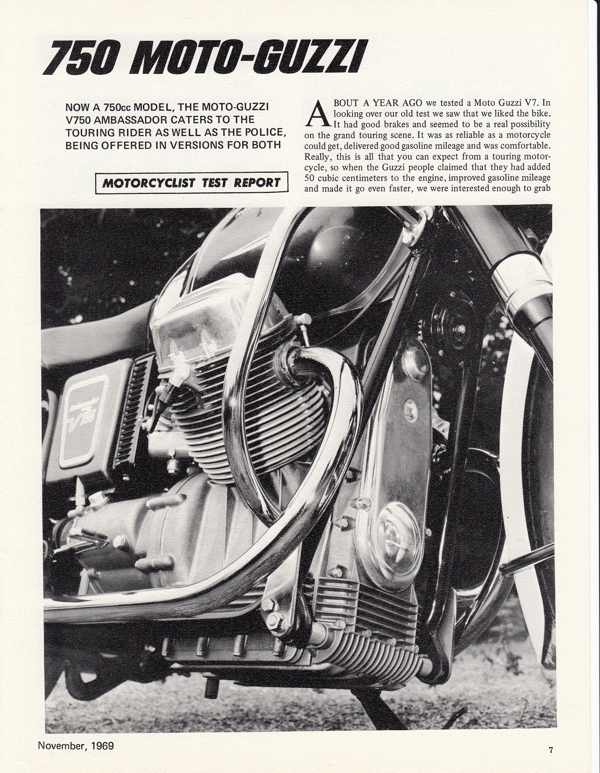 Moto Guzzi Ambassador factory brochure of magazine reviews, Page 7 of 16.