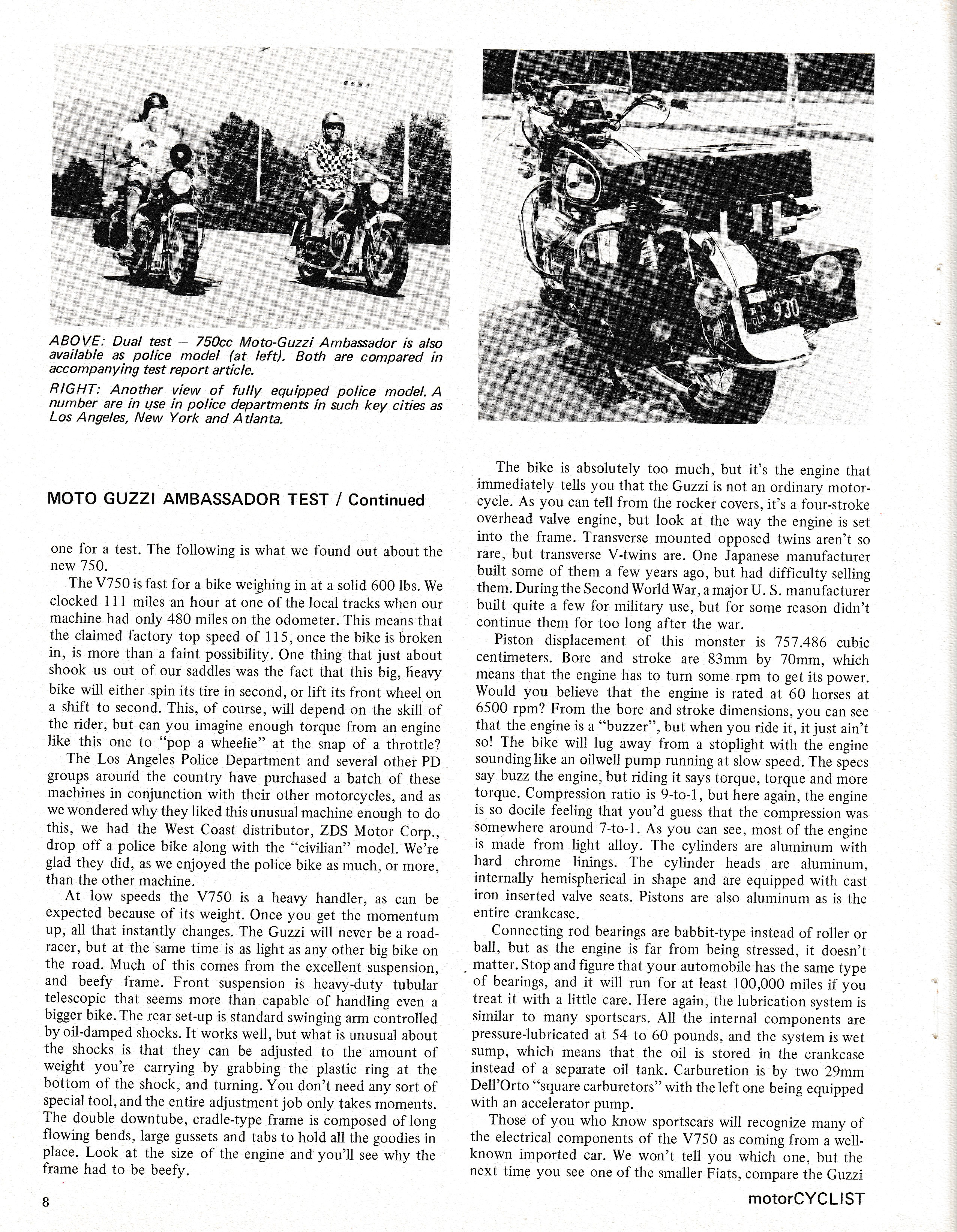 Moto Guzzi Ambassador factory brochure of magazine reviews, Page 8 of 16.