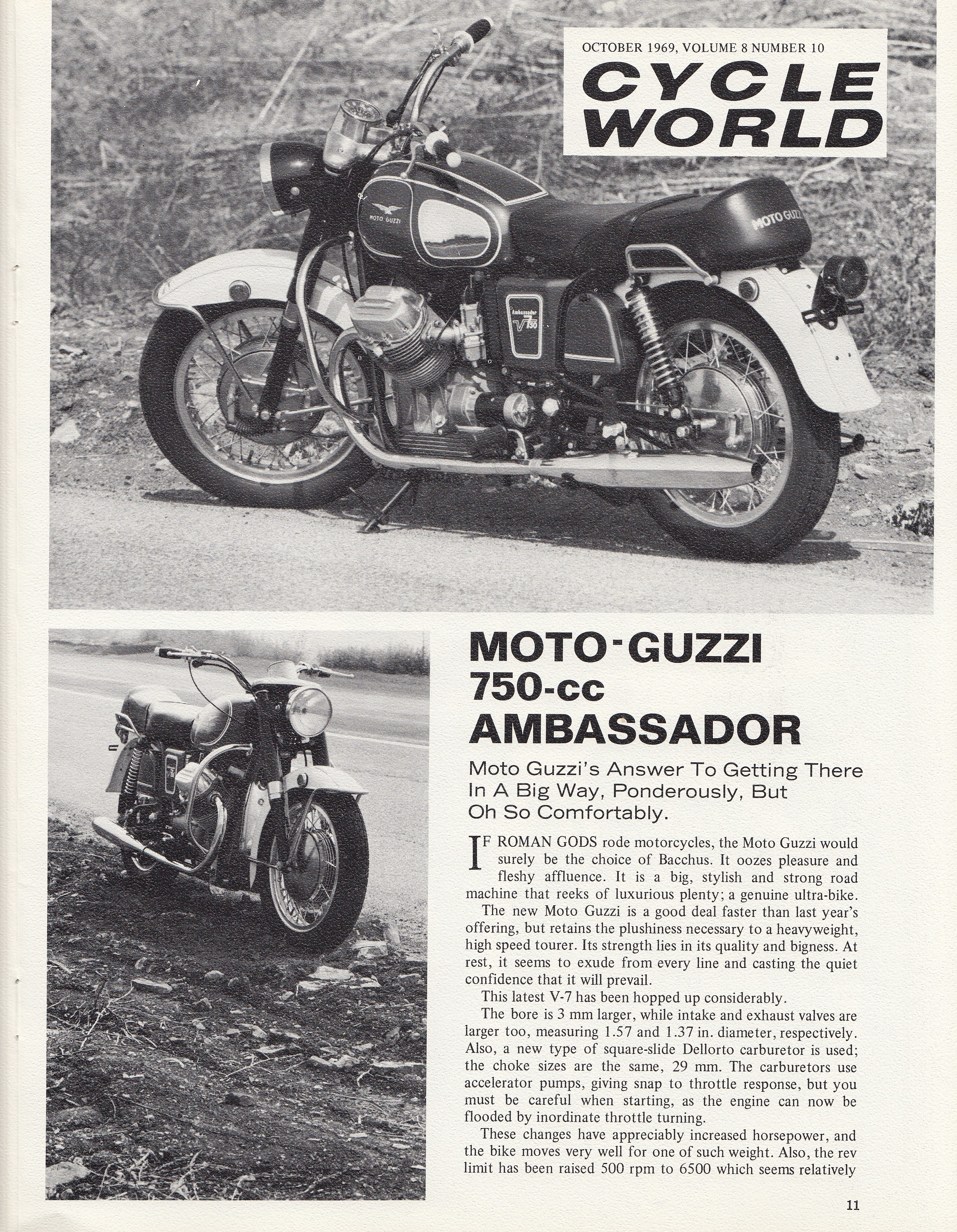 Moto Guzzi Ambassador factory brochure of magazine reviews, Page 11 of 16.