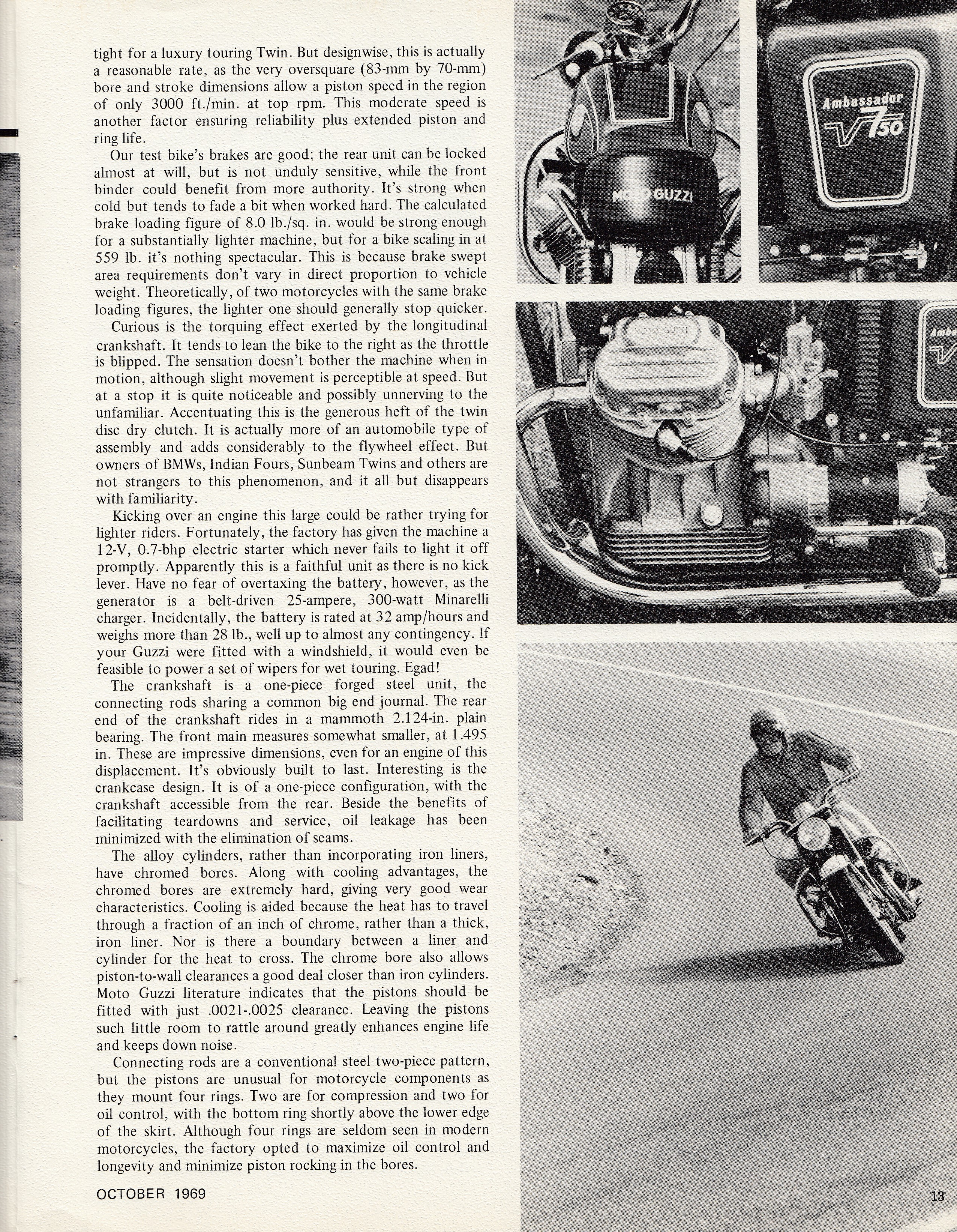 Moto Guzzi Ambassador factory brochure of magazine reviews, Page 13 of 16.