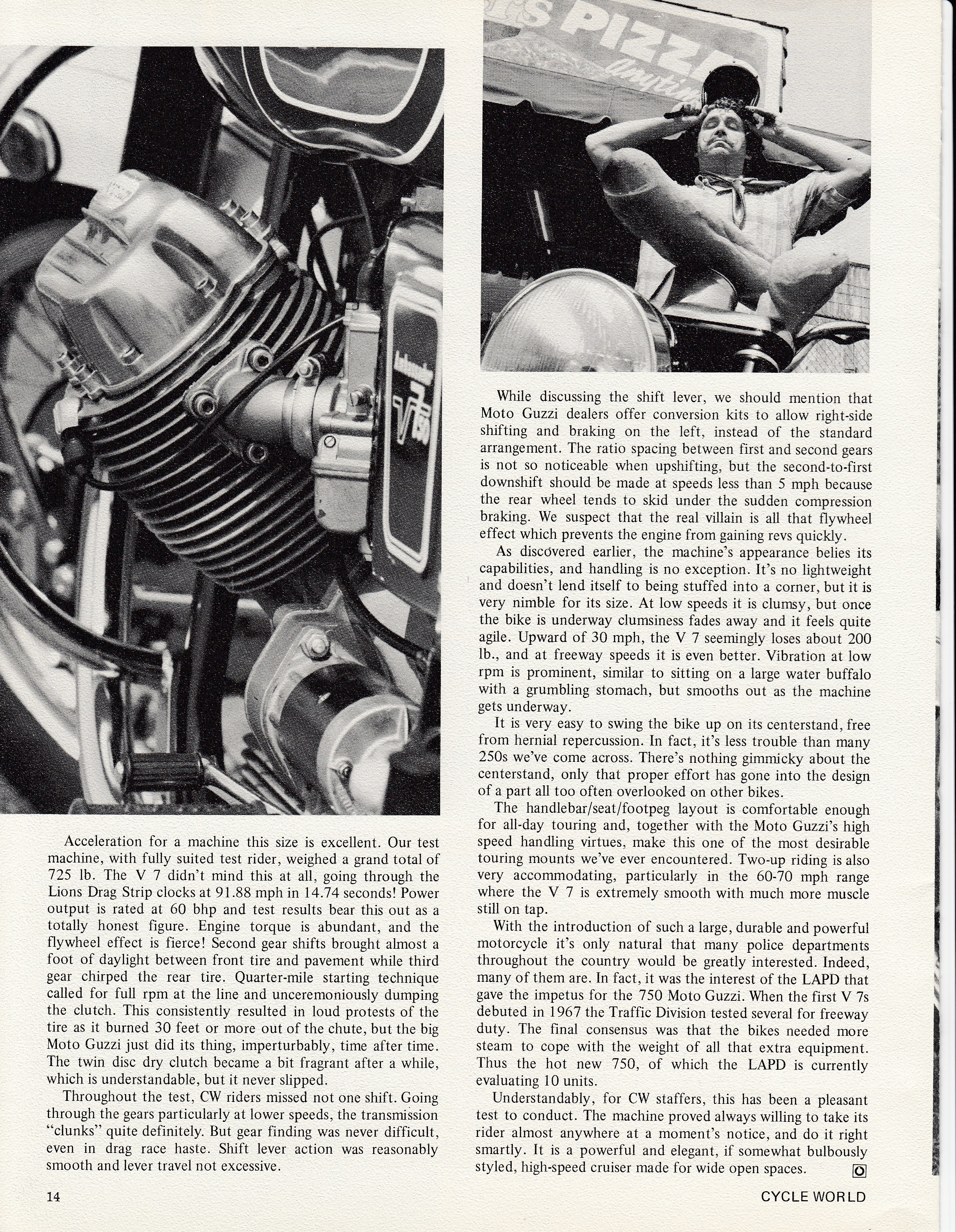 Moto Guzzi Ambassador factory brochure of magazine reviews, Page 14 of 16.