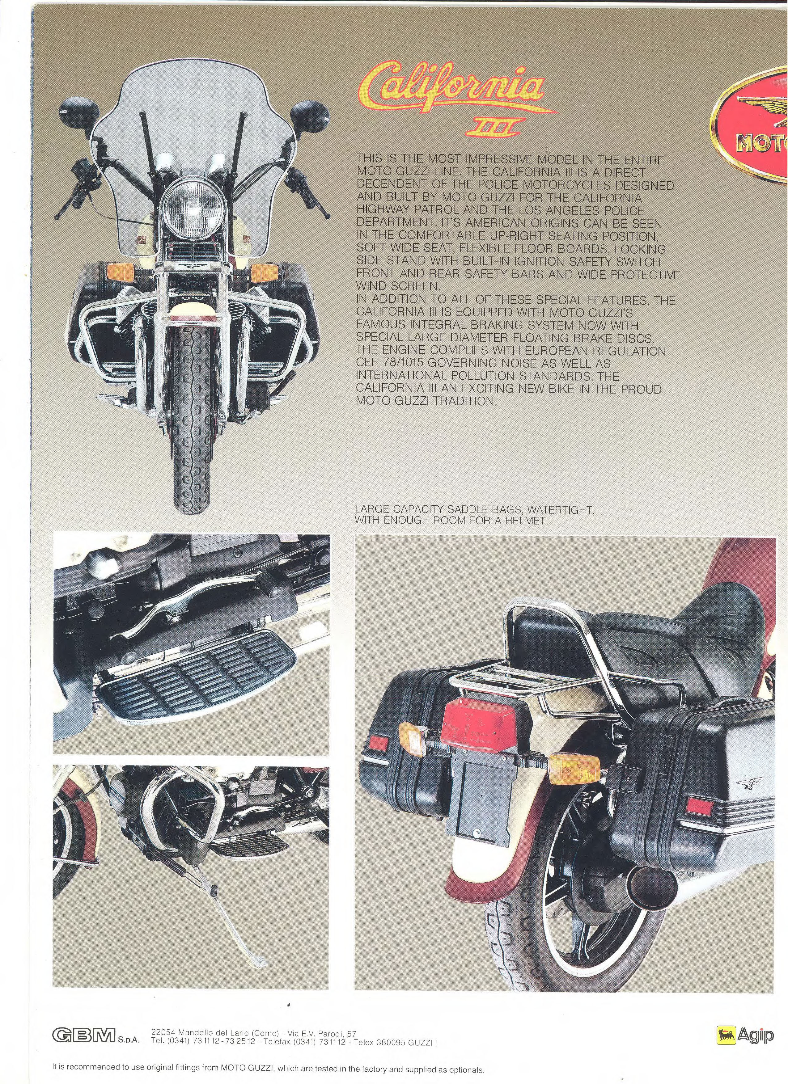 Moto Guzzi factory brochure: California III 1987