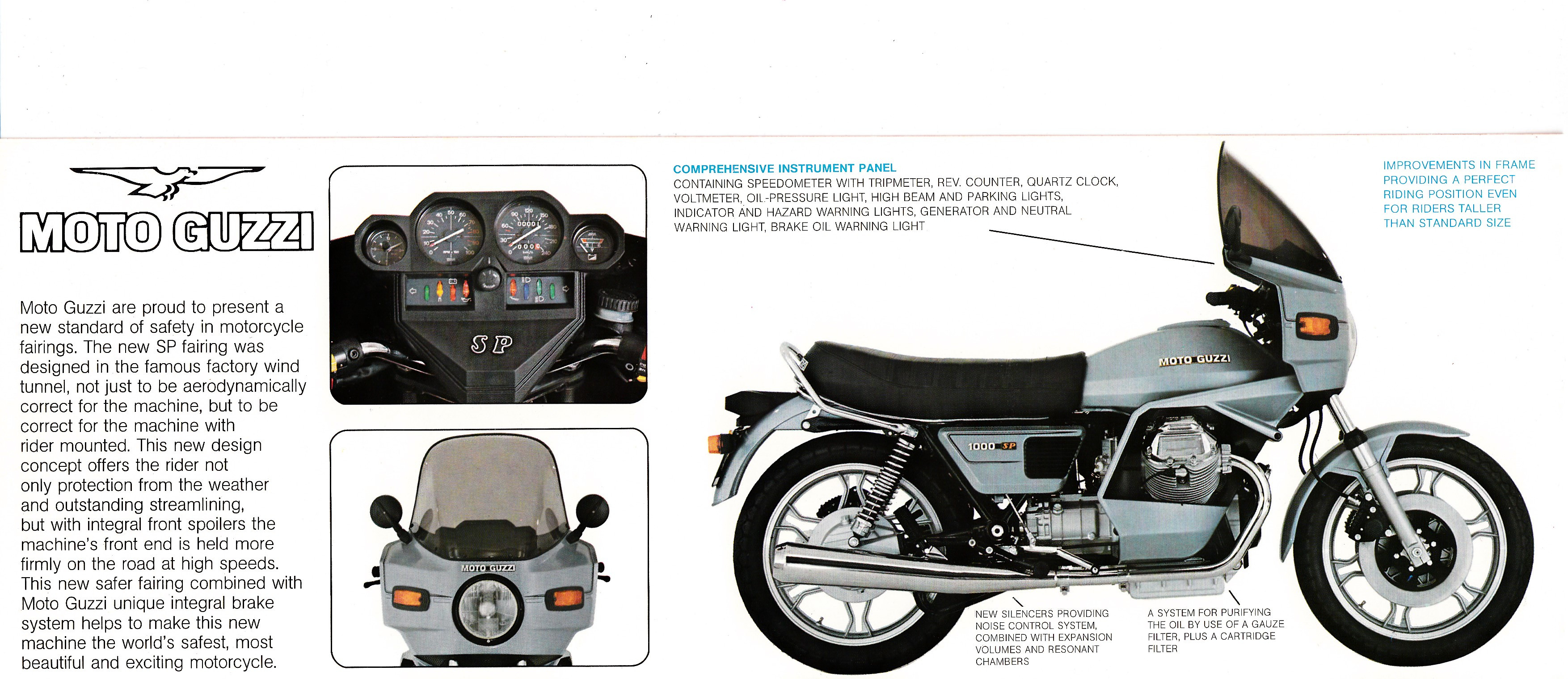 Brochure - Moto Guzzi 1000 SP (blue, folded style brochure)