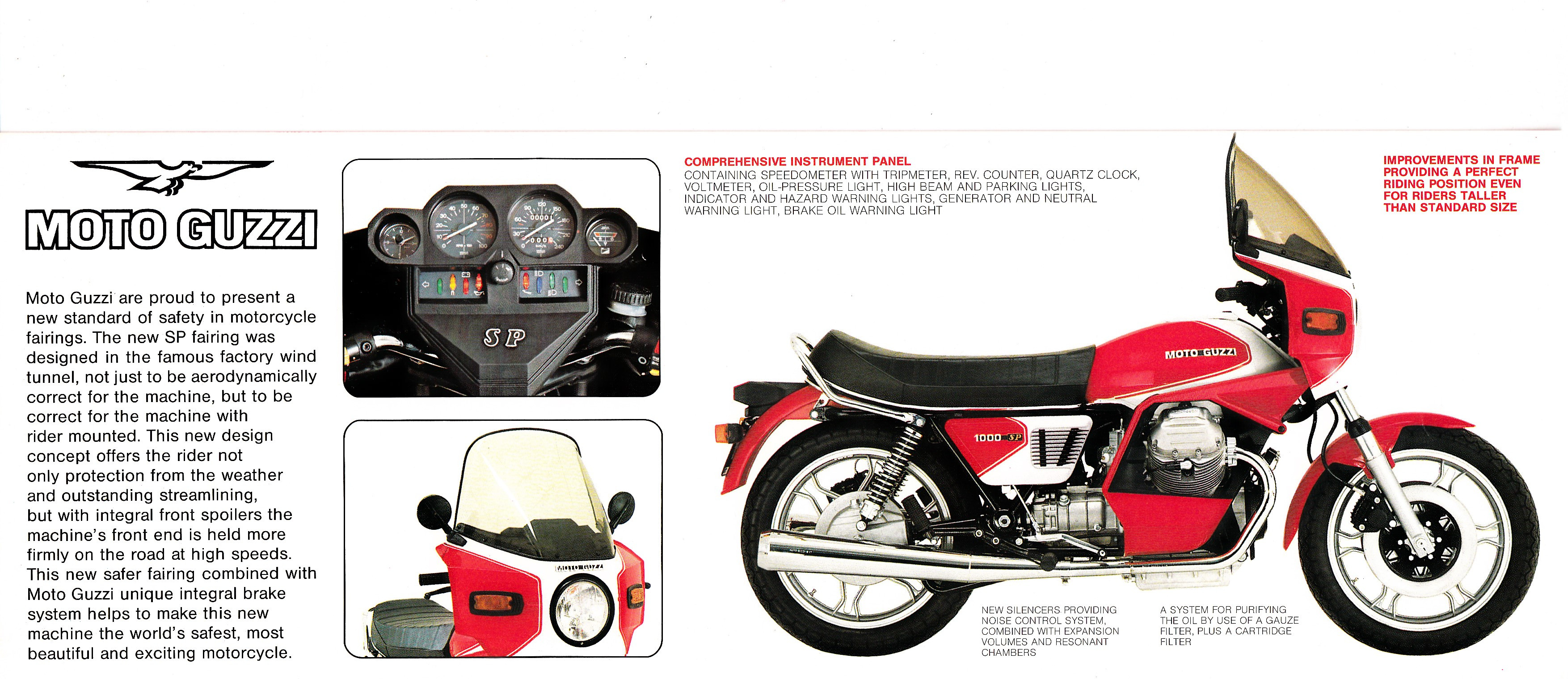 Brochure - Moto Guzzi 1000 SP (red, folded style brochure)